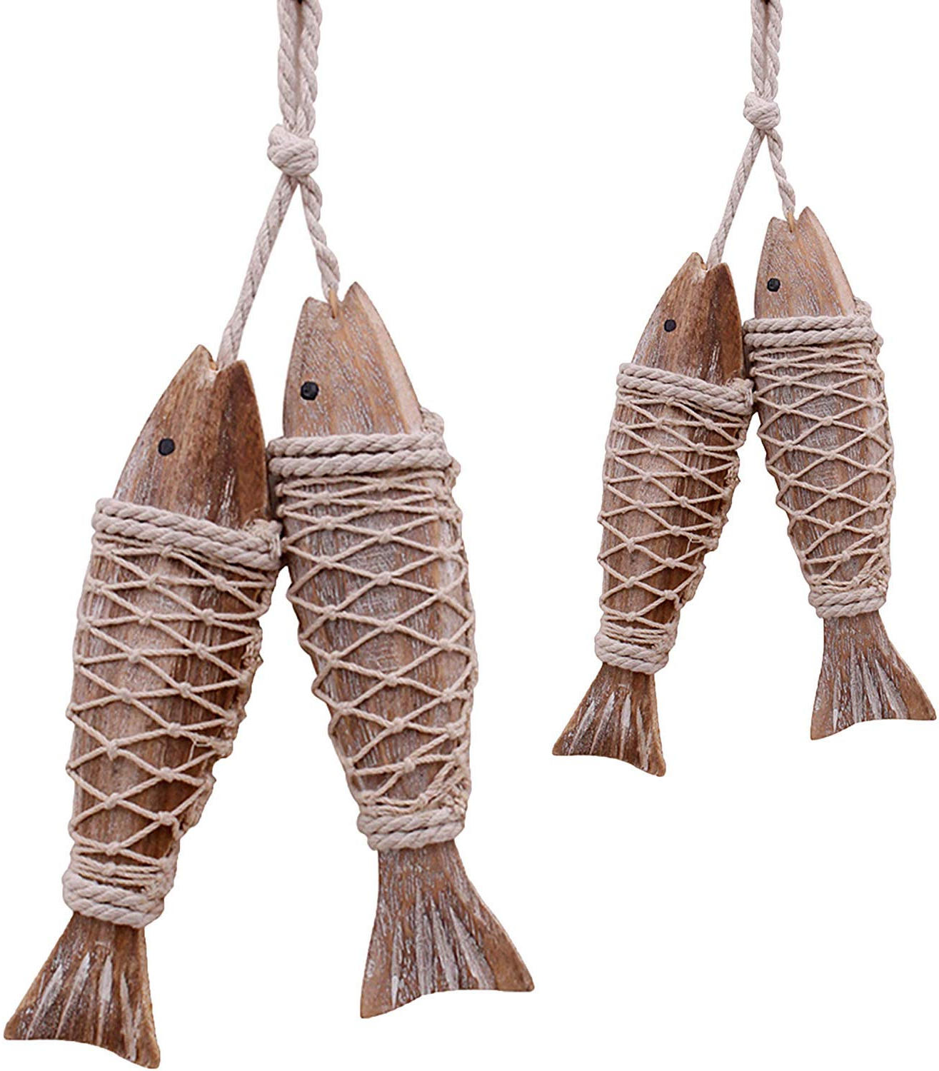 Newest Handcrafted Hanging Fish In Net Wall Décor Regarding Handcrafted Hanging Wooden Fish,set Of 4,nautical Ornaments Antique Home Wall Decor Nautical Gift For Beach Lovers (View 2 of 20)