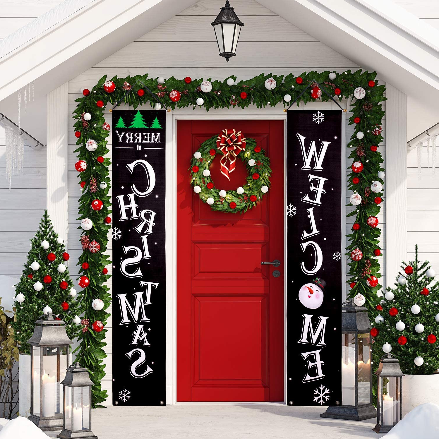 Newest Merry Christmas Sign Wall Décor With Regard To Whaline Christmas Porch Sign, Welcome And Merry Christmas Hanging Sign For Holiday Home Indoor Outdoor Porch Wall Christmas Decoration (View 11 of 20)