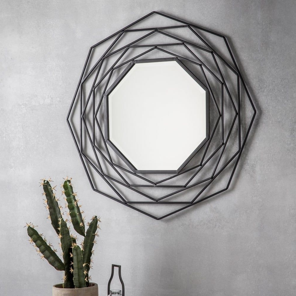 Newest Octave Modern Geometric Metal Wall Mirror, Dark Grey With Regard To Olive/gray Metal Wall Decor By Brayden Studio (View 18 of 20)