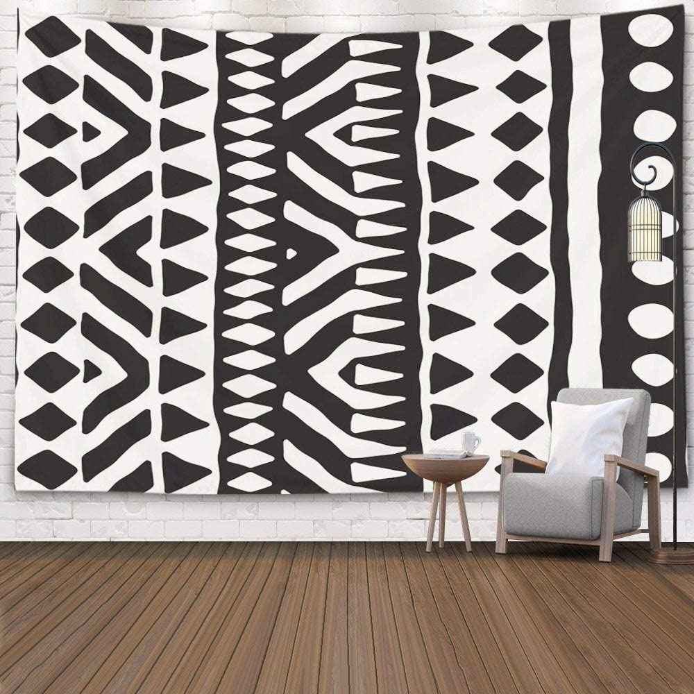 Newest Pamime Home Decor Tapestry For Black White Tribal Pattern Doodle Elements Abstract Geometric Art Wall Tapestry Hanging Tapestries For Dorm Room In Blended Fabric Living Life Tapestries (View 8 of 20)