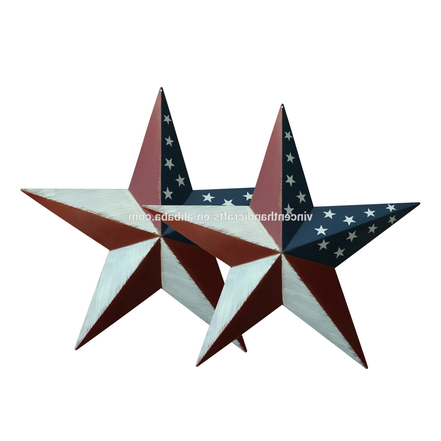 Newest Primitives Vintage Gifts American Flag Metal Barn Star Wall/door  Decor,18 Inch,set Of  (View 7 of 20)