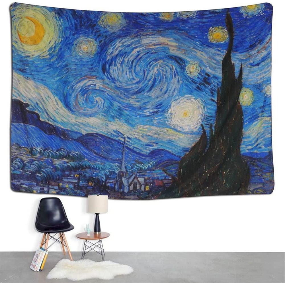 Newest Qcwn Starry Nightvincent Van Gogh Art Oil Painting Tapestry Wall Hanging For Bedroom Living Room Dorm Home Decoration Art (1, 59wx51l) Within Blended Fabric Van Gogh Starry Night Over The Rhone Wall Hangings (View 6 of 20)