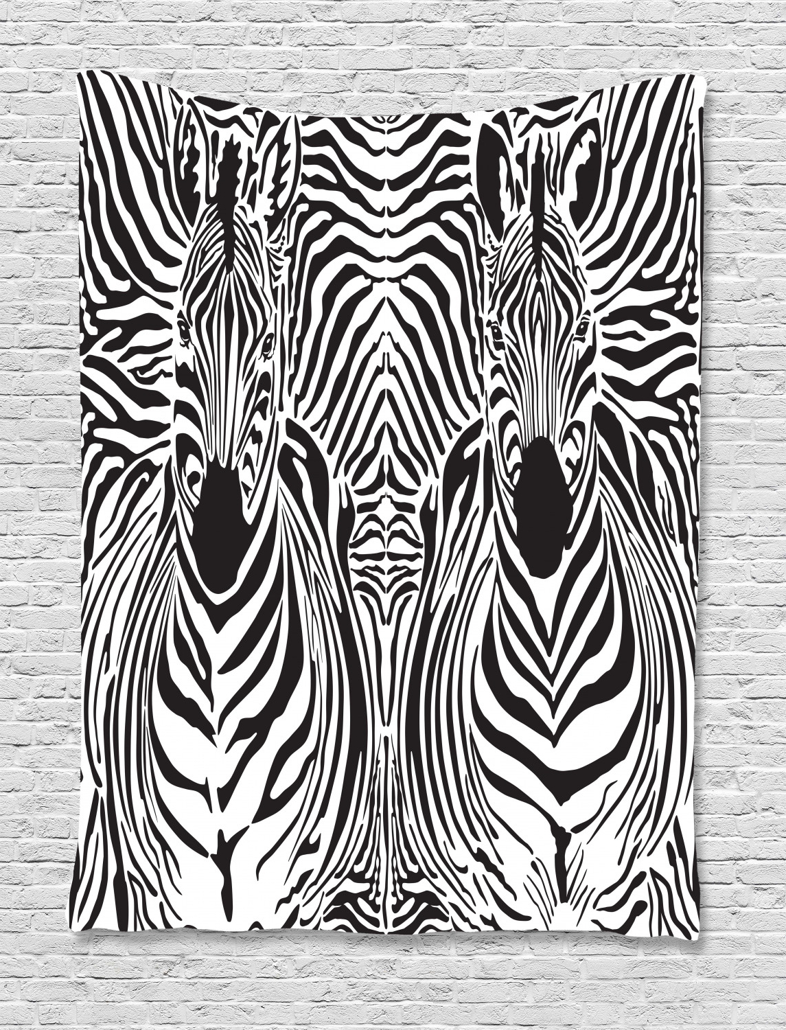 Newest Zebra Print Decor Wall Hanging Tapestry, Illustration Pattern Zebras Skins Background Blended Over Zebra Body Heads, Bedroom Living Room Dorm Regarding Blended Fabric Wall Hangings With Hanging Accessories Included (View 16 of 20)