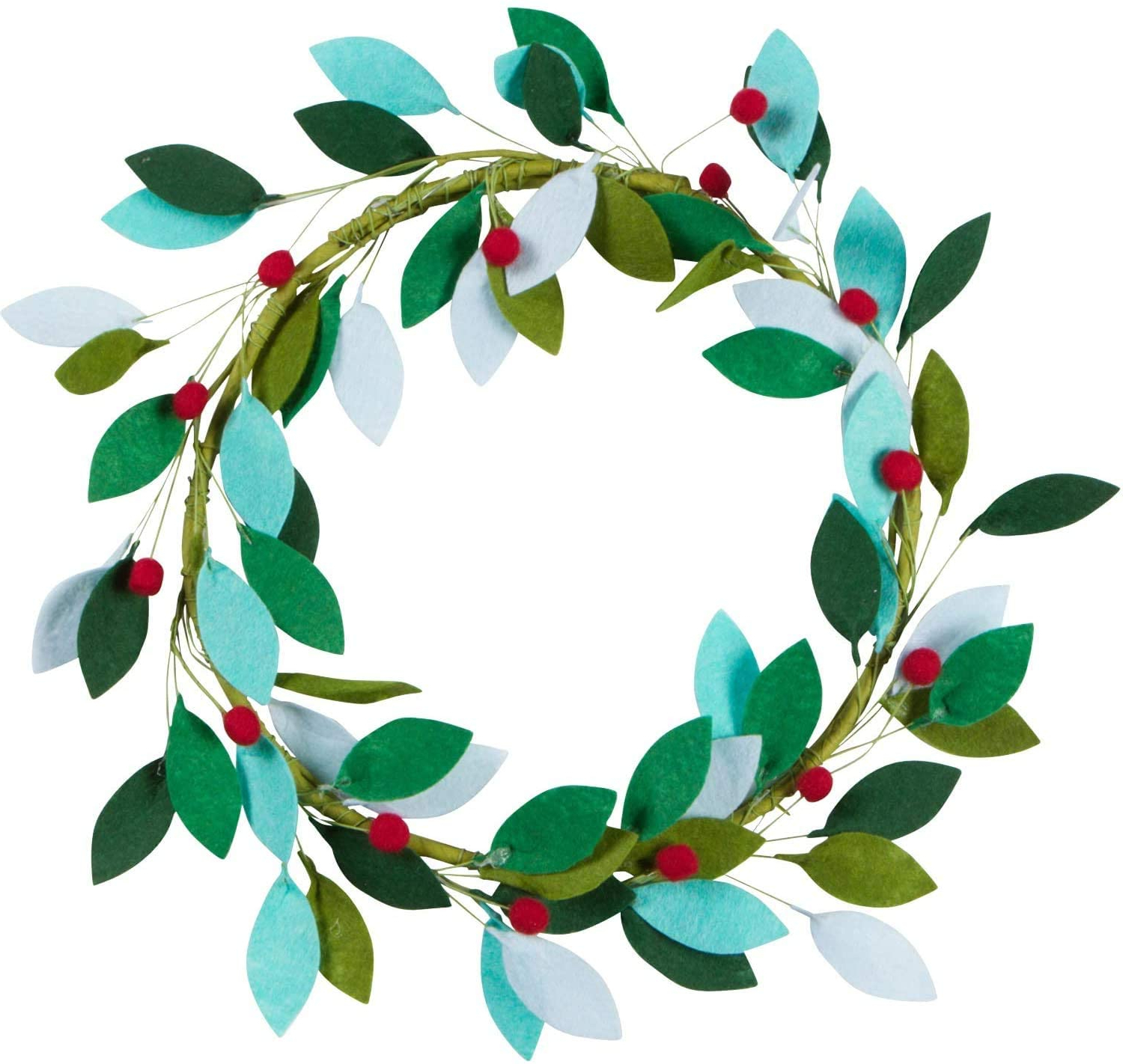 Orchid & Ivy 16 Inch Green Felt Leaf And Holly Berries Christmas Front Door Wreath – Modern Holiday Decoration For Popular Metal Leaf With Berries Wall Décor (View 19 of 20)