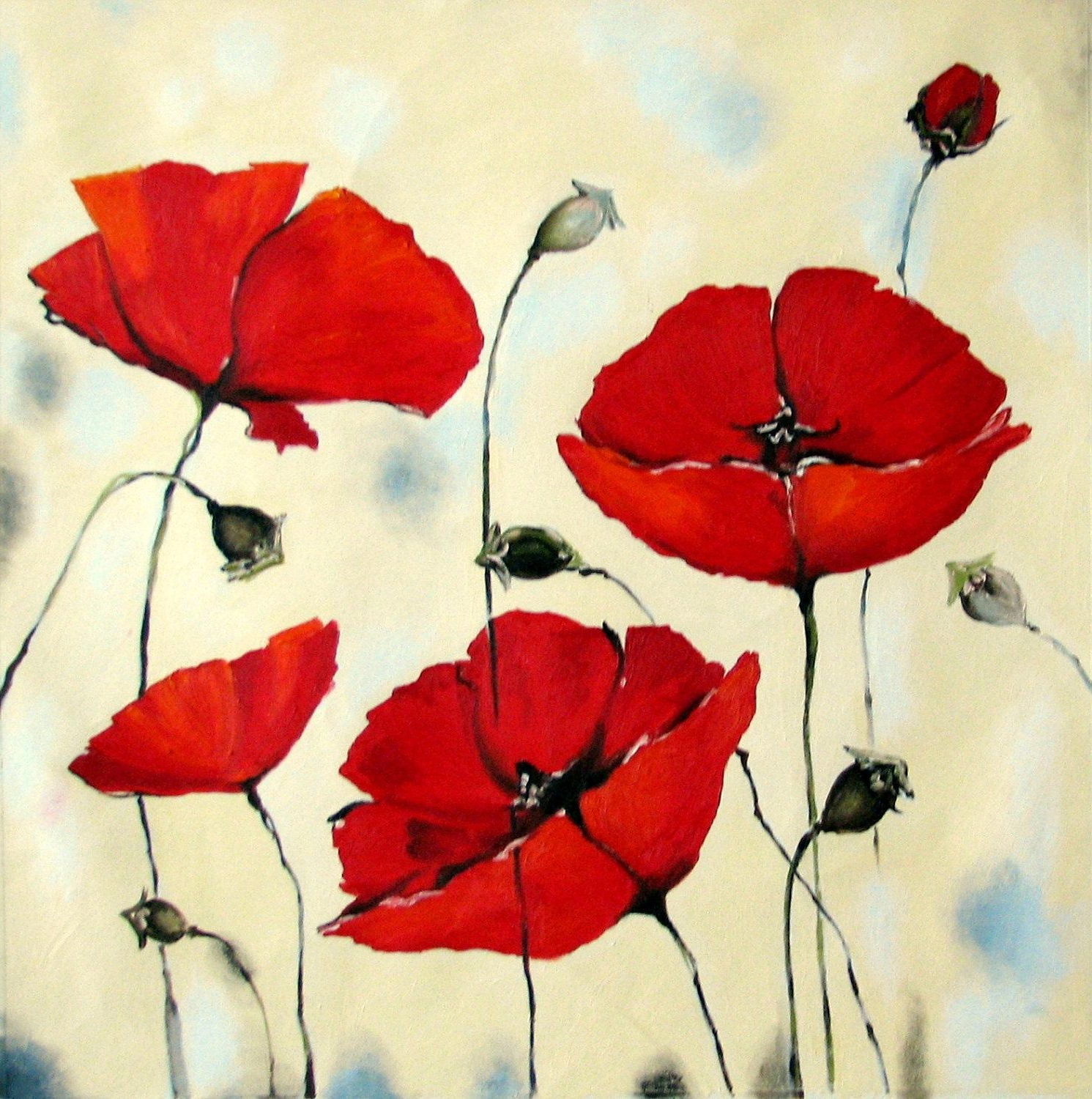 Original Painting – Red Poppies – Abstract Oil Flowers In Most Up To Date Blended Fabric Poppy Red Wall Hangings (View 6 of 20)