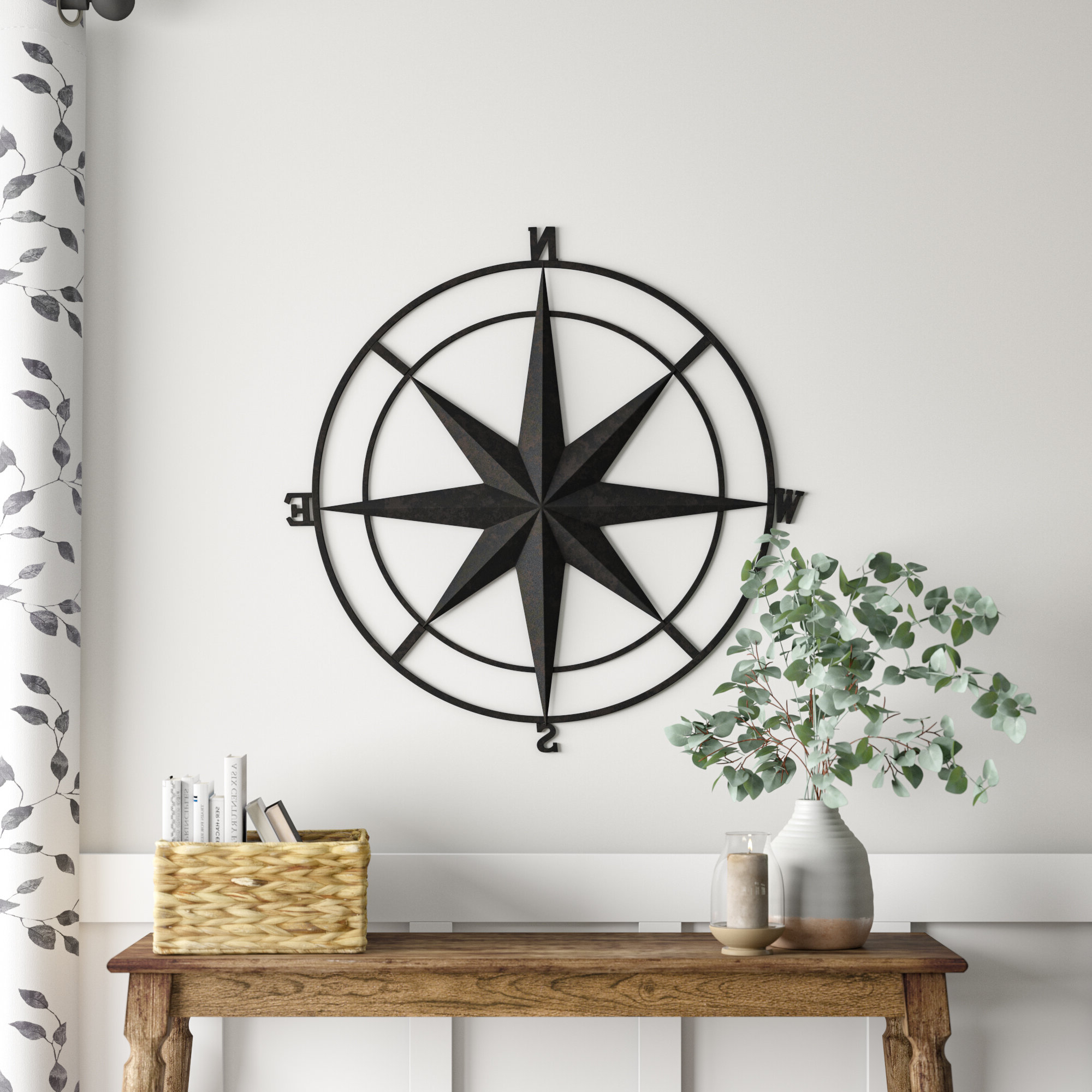 Outdoor Metal Wall Compass Pertaining To Most Current Compass Metal Wall Décor By Beachcrest Home (View 14 of 20)