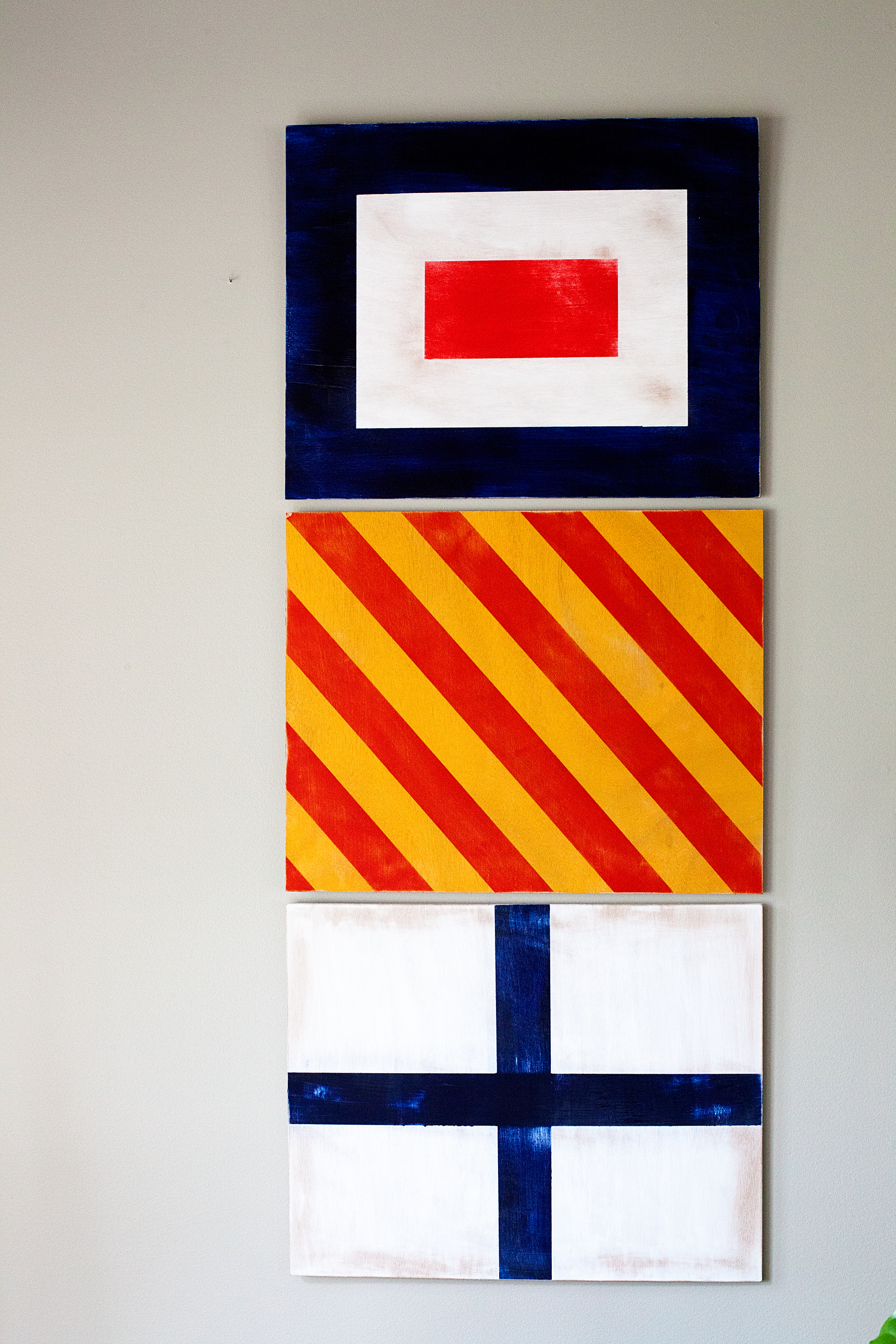 Painted Nautical Signal Flags For Boys Room Decor • Whipperberry Regarding Most Popular Letter Wooden Nautical Alphabet Flag Wall Décor (View 18 of 20)