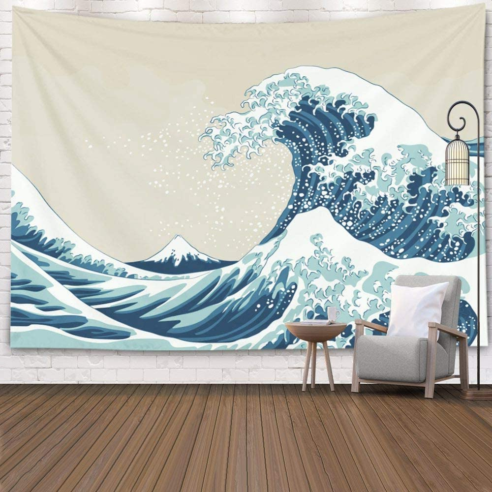 Pamime Aesthetic Room Décor,ocean Tapestry,ocean Wave Tapestry, Great Wave Mount Fuji Century Hanging Wall Tapestries For Living Room Decor 60x50 Regarding Current Blended Fabric In His Tapestries And Wall Hangings (View 18 of 20)