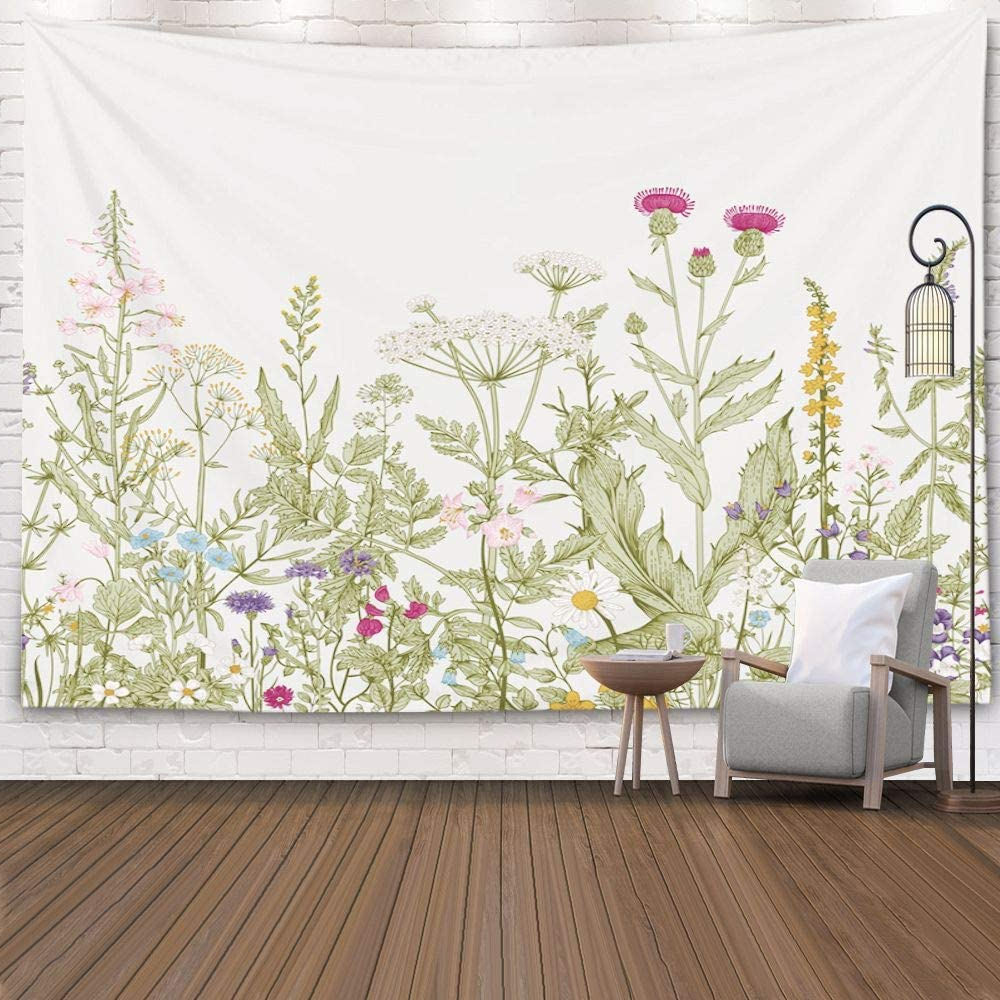 Pamime Plant Tapestry,tapestry Nature Wall Tapestries, Home Decor Tapestry Floral Herbs Wild Dorm Bedroom Living Room 80x60 Inches(200x150cm) Regarding Well Liked Blended Fabric Spring Party Wall Hangings (View 2 of 20)