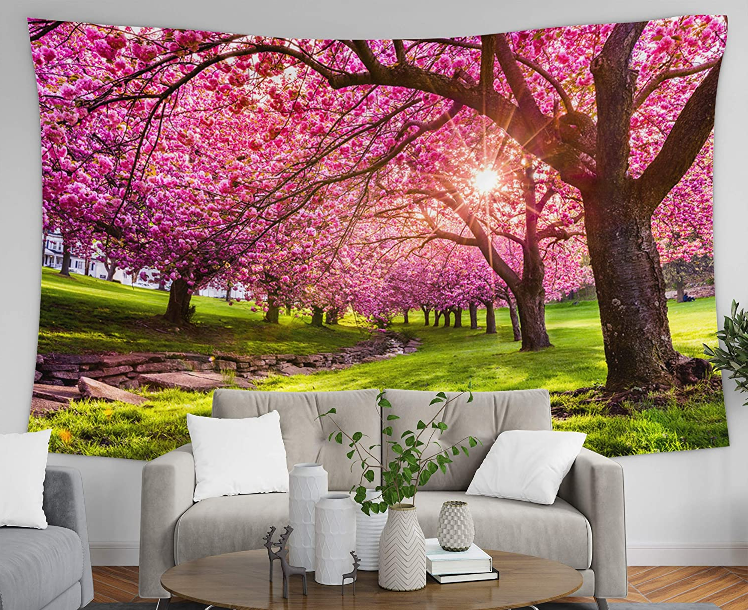 Pamime Tapestry Wall Hangings,home Decor Tapestry Cherry Tree Blossom Explosi In Hurd Park Dover New Jersey Same Trees Dorm Room Bedroom Living Room Inside Latest Blended Fabric Spring Blossom Tapestries (View 7 of 20)