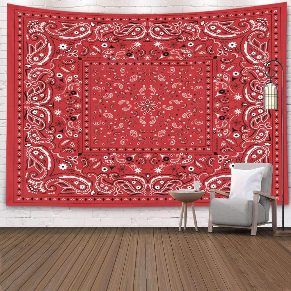 Pamime Wall Hanging Tapestries,home Decor Tapestry Red Bandana Dorm Room Bedroom Living Room 60x60 Inches(150x150cm) Bedspread Inhouse,red White 3 Throughout Newest Blended Fabric Wall Hangings (View 15 of 20)