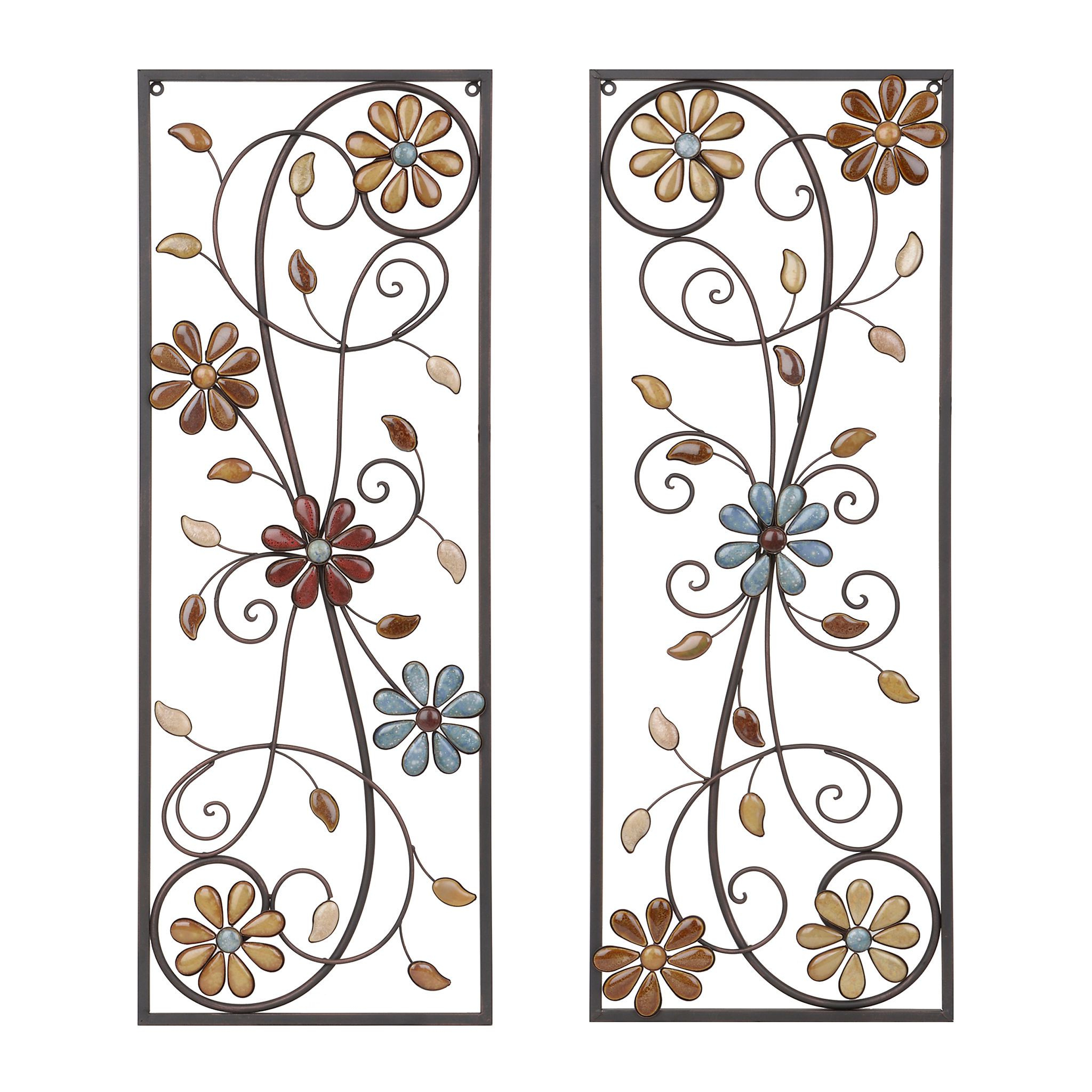 Paulina Panels Wall Décor (set Of 2) In Most Current Olivia Stone Floral Metal Plaques, Set Of (View 14 of 20)