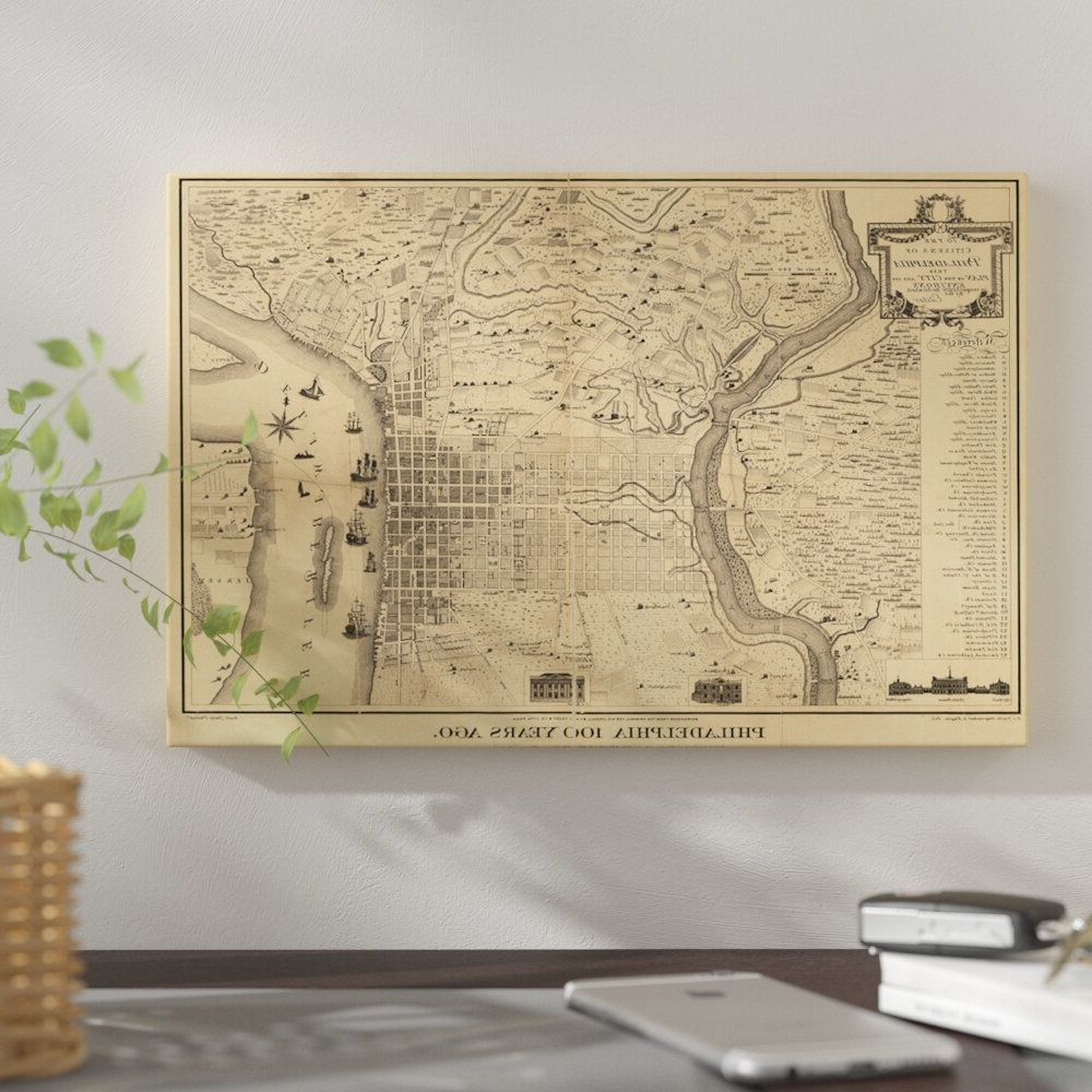 'philadelphia 100 Years Ago Map, 1875' Graphic Art Print On Canvas With Regard To Most Popular Wall Mounted World Map Sculpture By Alcott Hill (View 10 of 20)