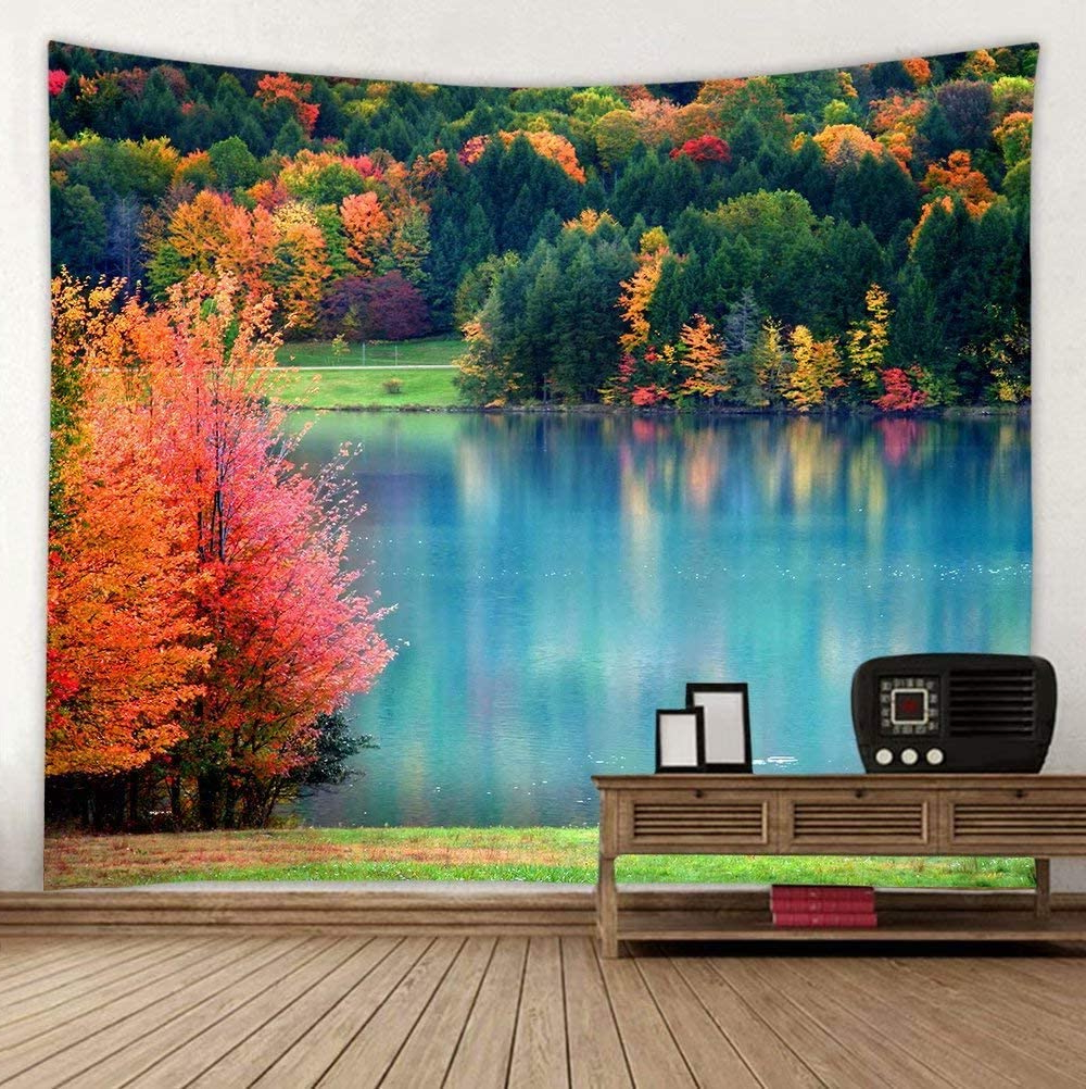 Pickako Scenic Autumn Landscape Colorful Trees Lake River Pond In Forest Tapestry Wall Hanging Decor 59 X 51 Inches, Tapestry Art For House Bedroom Inside Newest Blended Fabric Lago Di Como Ii Wall Hangings (View 1 of 20)