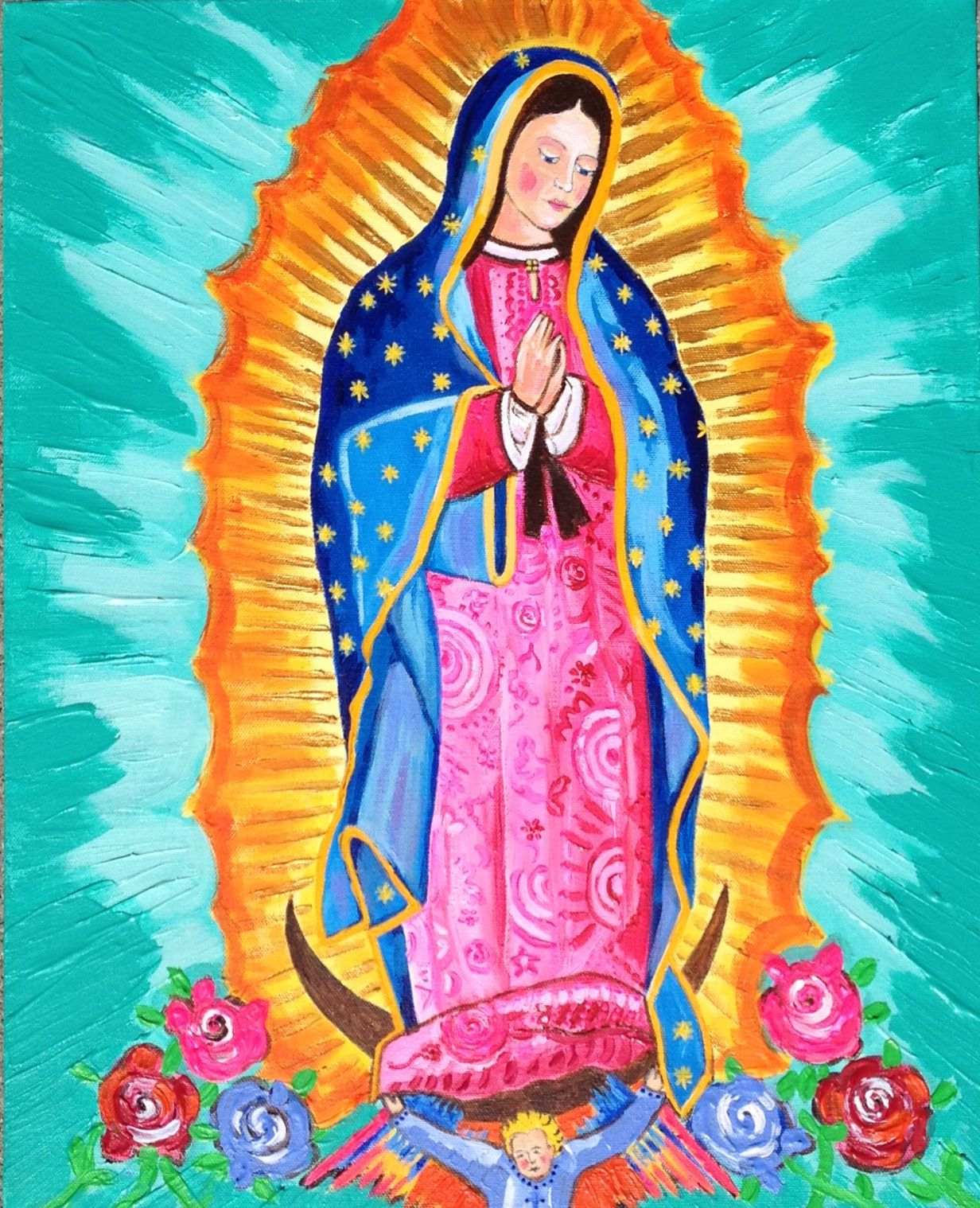 Pin On My Paintings Intended For Favorite Blended Fabric Our Lady Of Guadalupe Wall Hangings (View 15 of 20)
