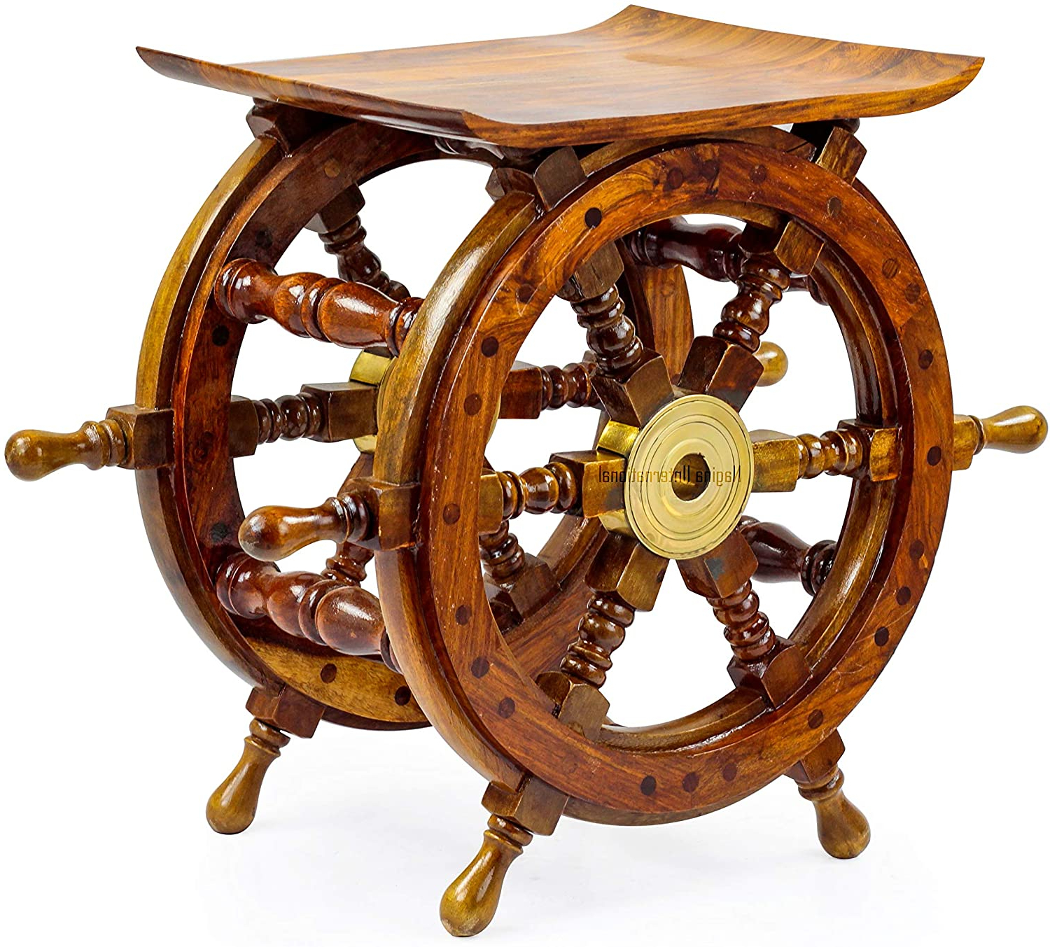 Pirate's Antique Brass Hub Motiff (18 Inches) With Regard To Brown/brass Wood Ship Wheel Wall Décor (View 14 of 20)
