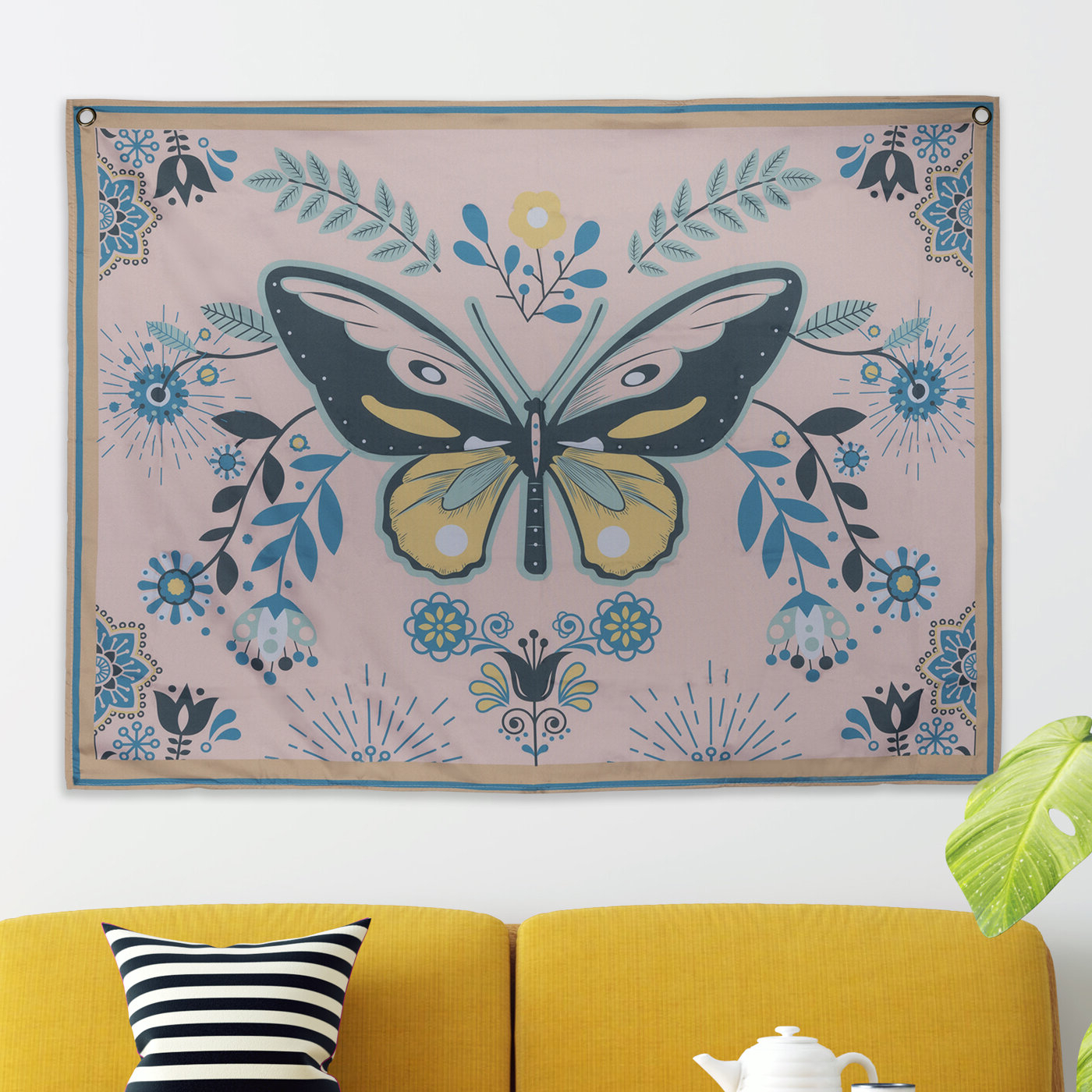 Polyester Beautiful Butterfly Tapestry With Hanging Accessories Included With Regard To Most Current Blended Fabric Crocifissione Wall Hangings (View 16 of 20)