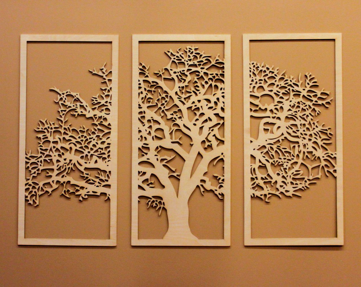 Popular 3d Tree Of Life – 3 Panel Wood Wall Art – Beautiful Living Throughout Paulina Panels Wall Décor (set Of 2) (View 7 of 20)