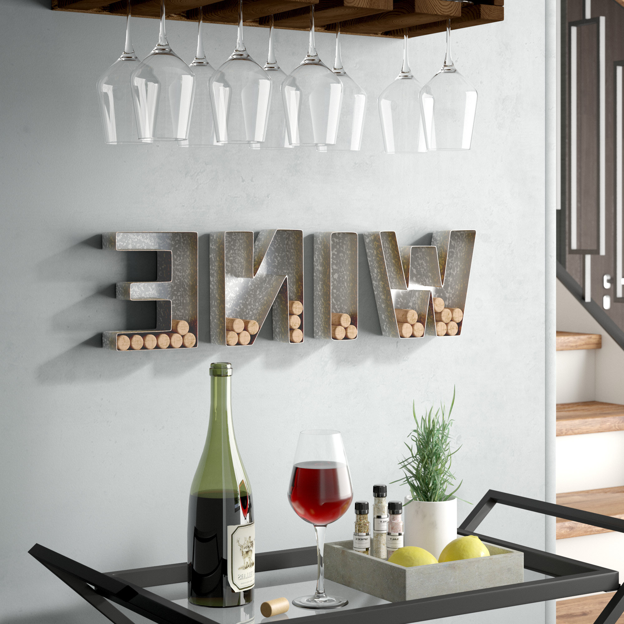 "Popular 4 Piece ""wine"" Letter Set Cork Holder Wall Décor Set Inside 4 Piece ""wine"" Letter Set Cork Holder Wall Décor Set (View 2 of 20)"