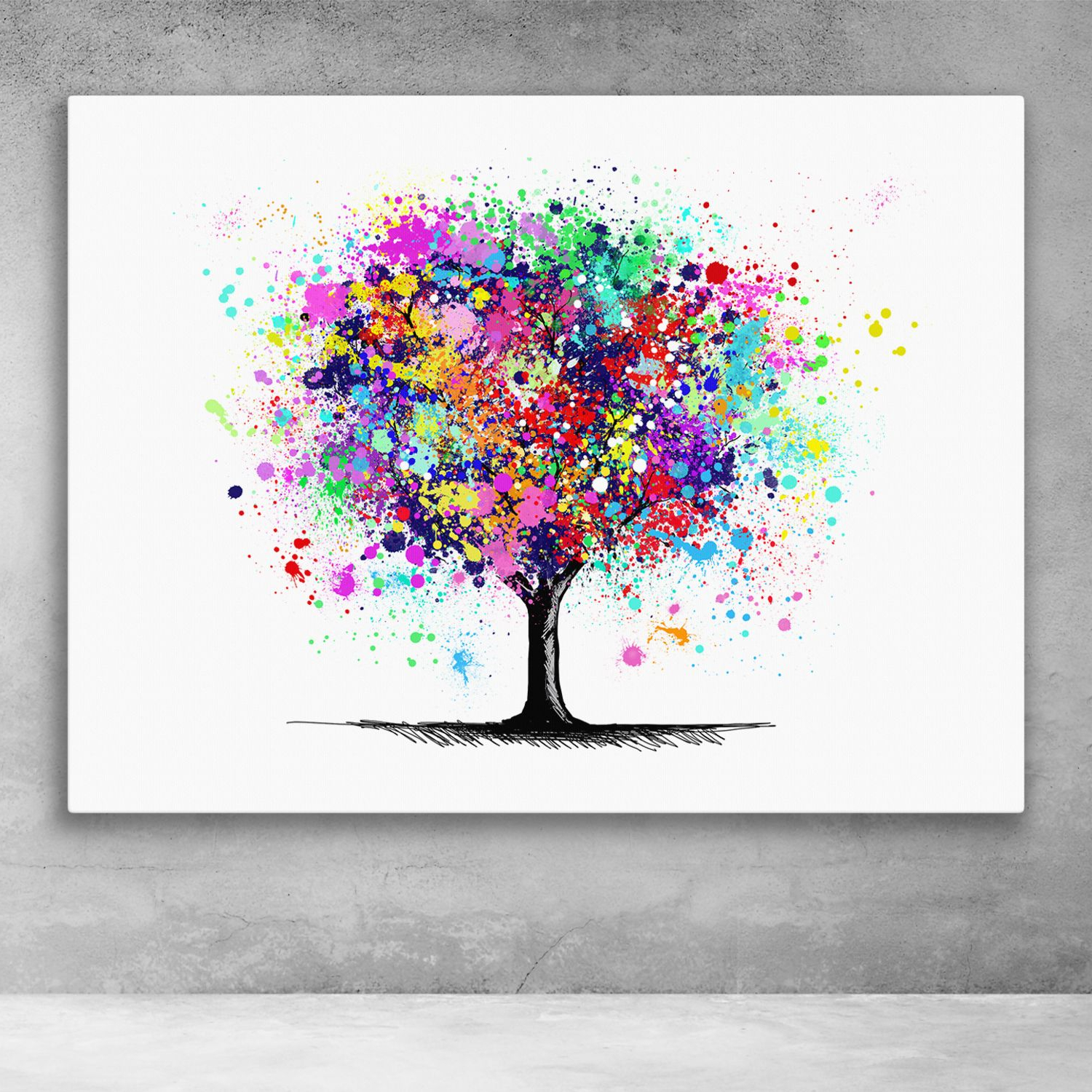 Popular Abstract Tree Wall Décor By Winston Porter Inside Tree Of Life Abstract Paint Splatter Pop Art Canvas Wall Art (View 11 of 20)
