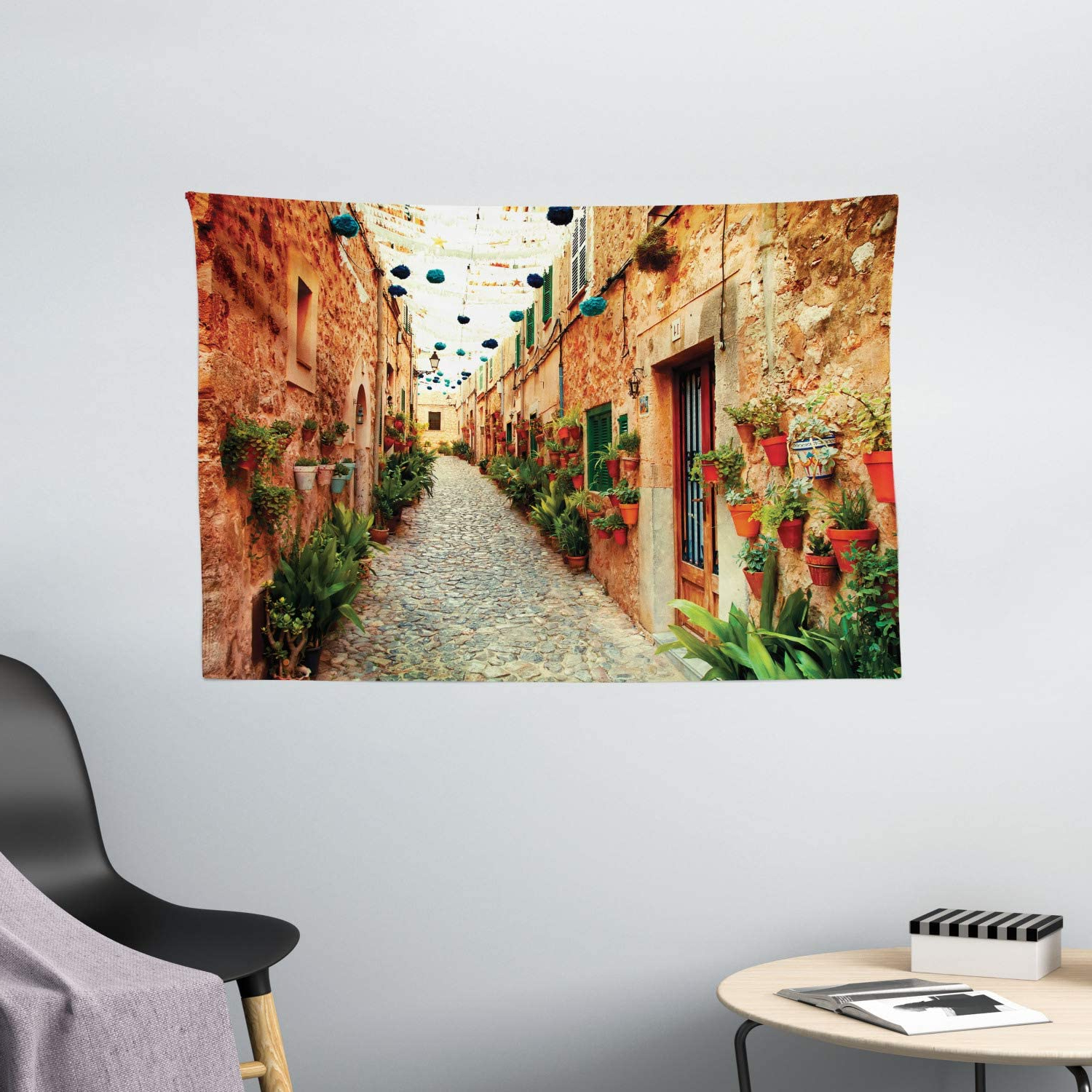 Popular Ambesonne European Tapestry, Spanish Alley Rock Houses And Plants Latin Tourism Scene Mediterranean Print, Wide Wall Hanging For Bedroom Living Room Inside Blended Fabric Peacock European Tapestries (View 17 of 20)
