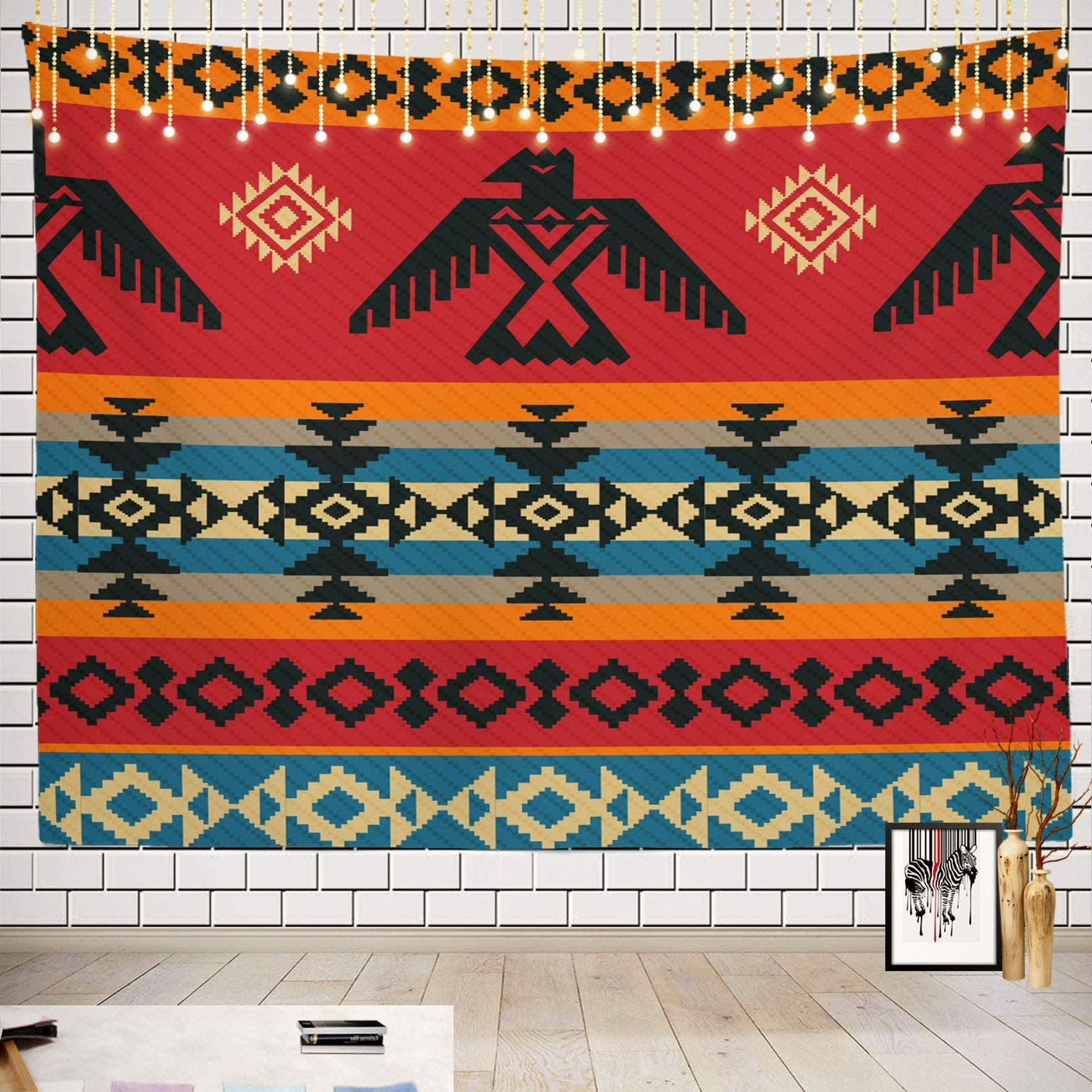Popular Batmerry Ethnic Geometric Tribal Tapestry, Native American Navajo Tribal Design Print Picnic Mat Hippie Trippy Tapestry Wall Art Decor For Bedroom With Regard To Blended Fabric Southwestern Bohemian Wall Hangings (View 13 of 20)