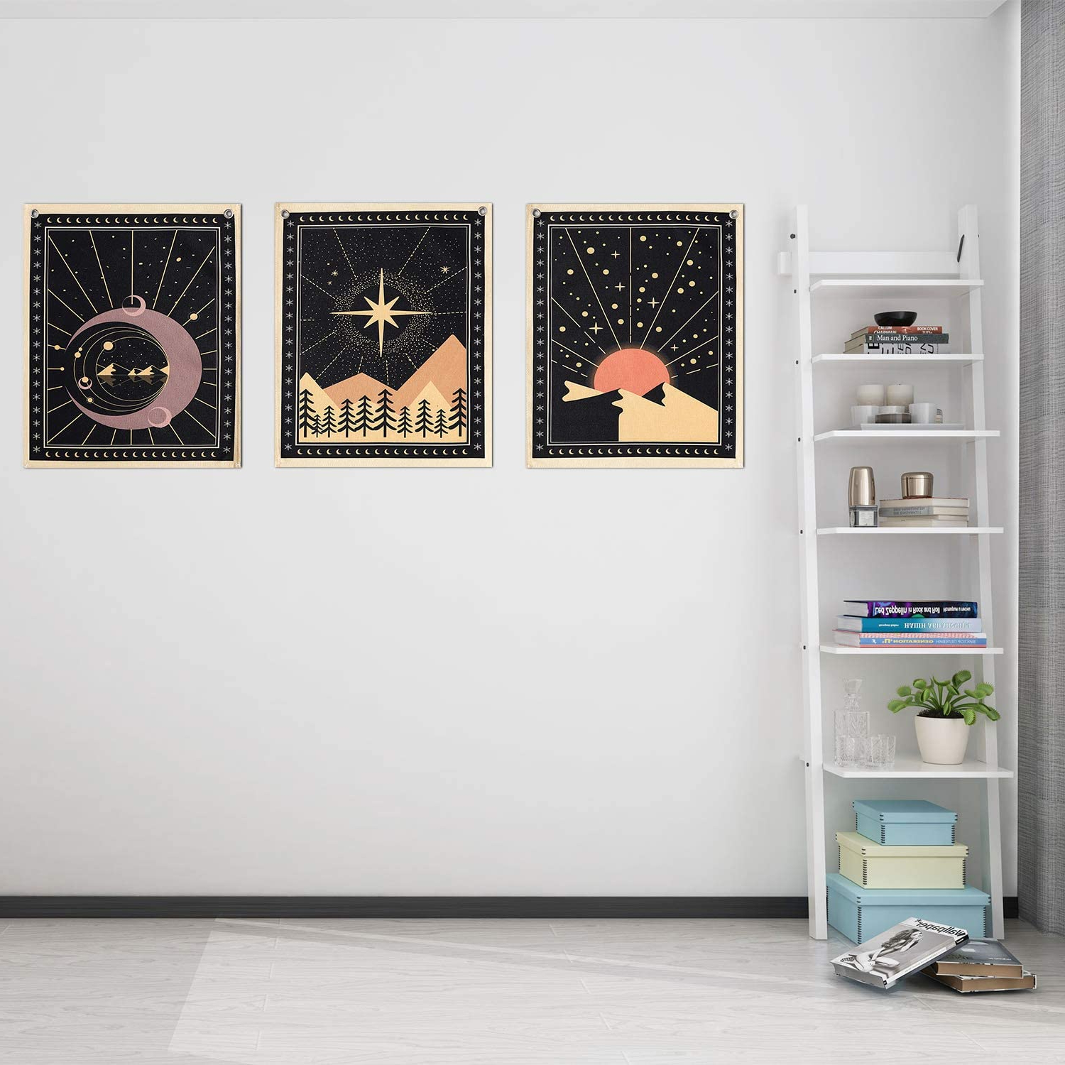 Featured Photo of Blended Fabric Celestial Wall Hangings (Set Of 3)