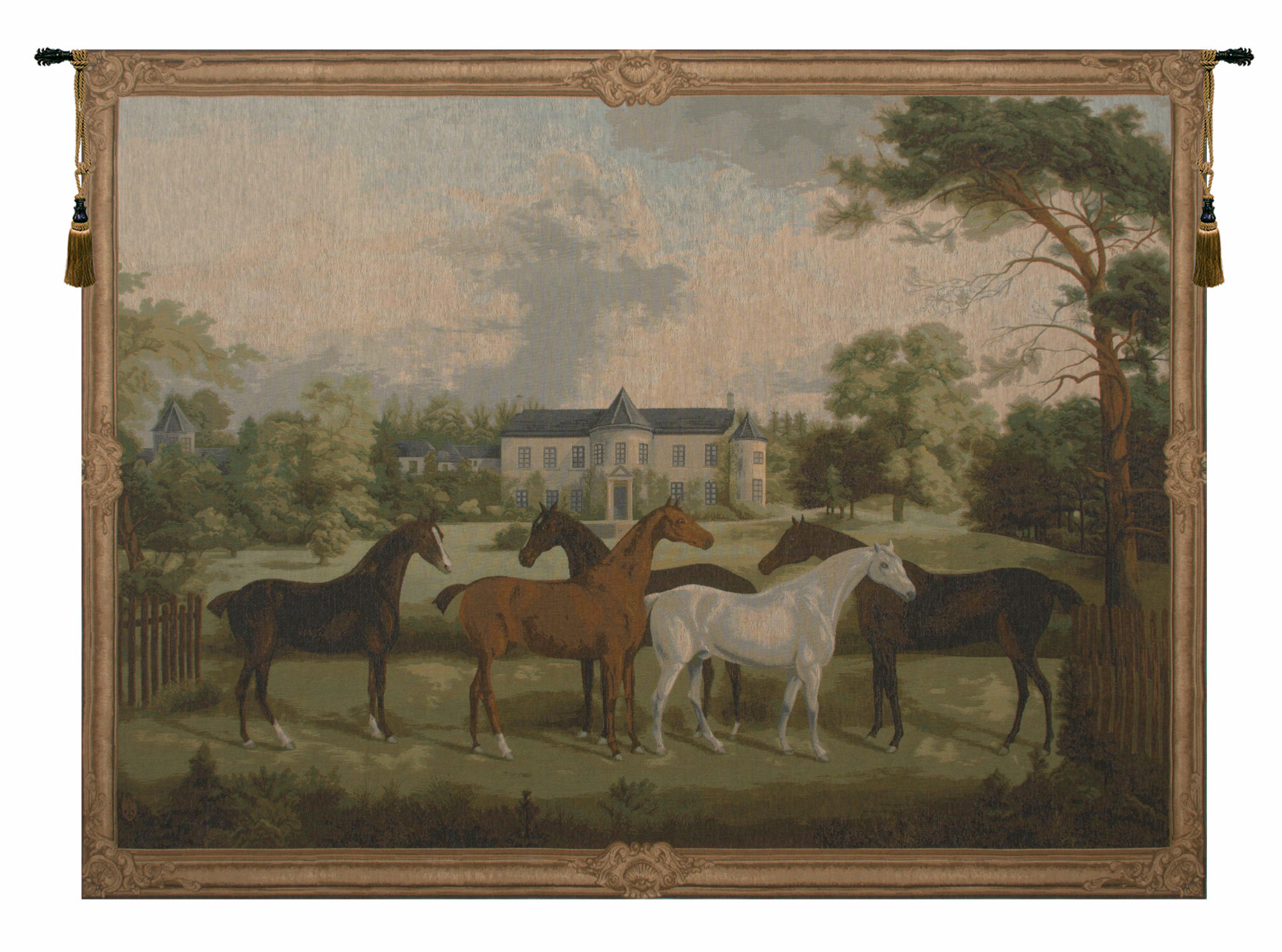 Featured Photo of Blended Fabric European Five English Horses Tapestries