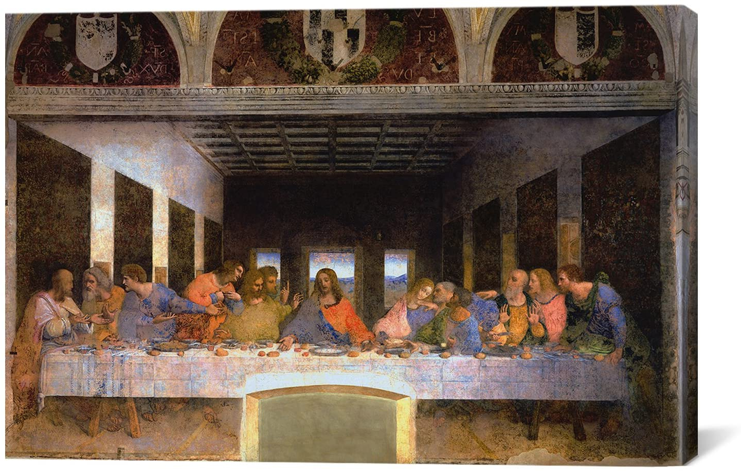 Popular Blended Fabric Leonardo Davinci The Last Supper Wall Hangings Within Amazon: Icanvasart 3 Piece The Last Supper,leonardo (View 4 of 20)