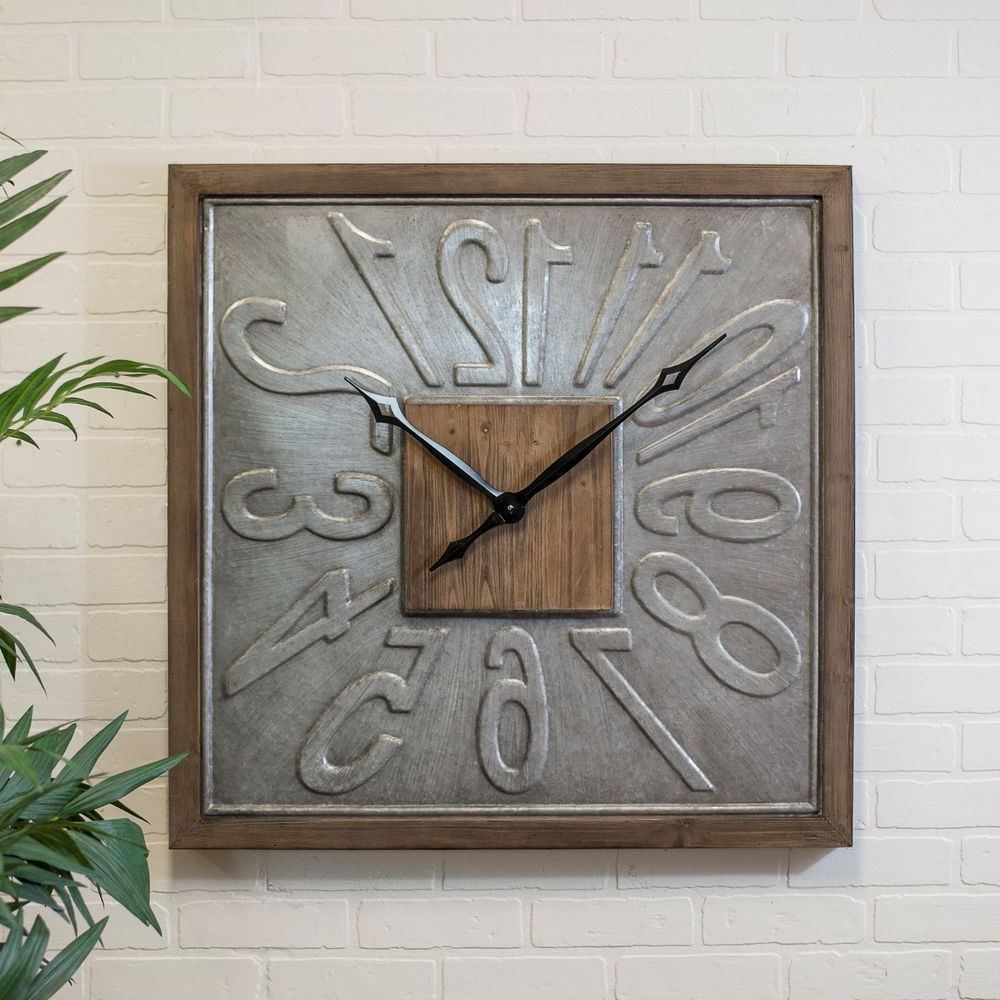 """Popular Blended Fabric Old Rugged Cross Wall Hangings Within Large Square Wall Clock Wood Framed Metal 31"""" Hanging Clock (View 16 of 20)"""