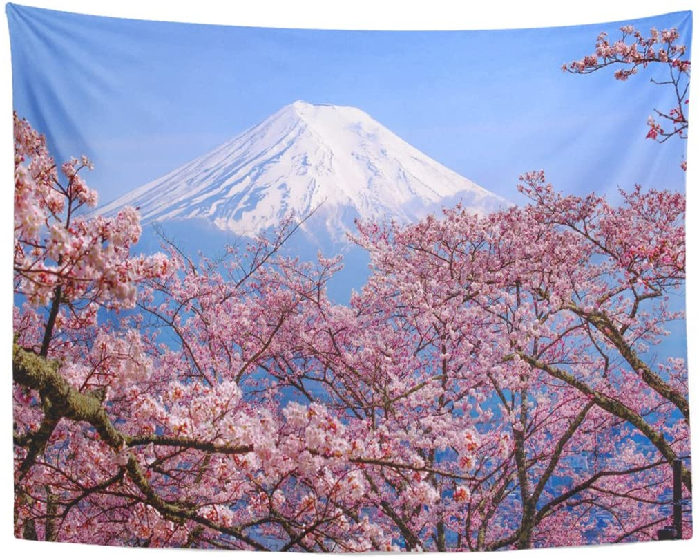 Popular Blended Fabric Spring Blossom Tapestries Intended For Japan Tapestry Mount Fuji Cherry Blossom Print Wall Hanging (View 8 of 20)