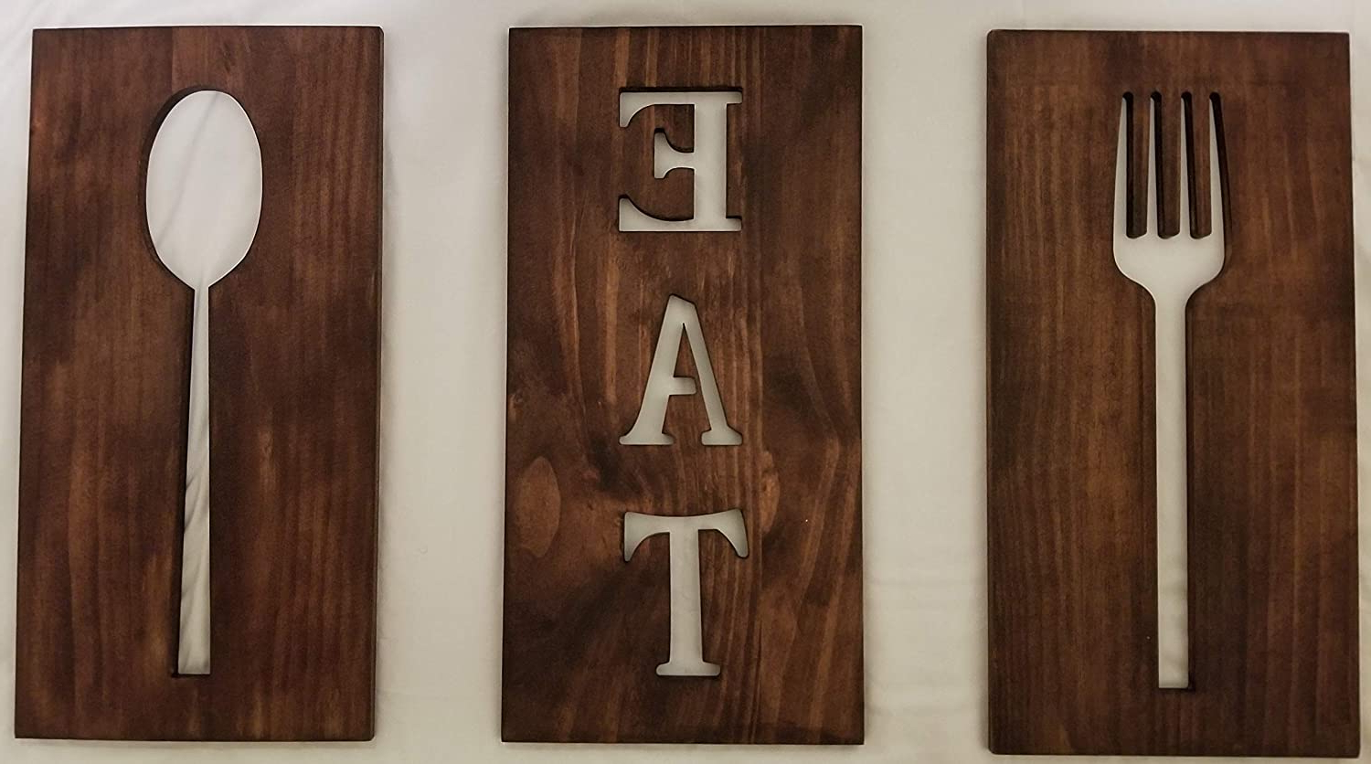 Popular Eat Rustic Farmhouse Wood Wall Décor For Michigan Warehouse Wooden Kitchen Decor, Cutlery Signs, Stained Brown Kitchen Art, Fork And Spoon Wall Decor, Wood Signs, Kitchen Designs, Eat Sign (View 20 of 20)