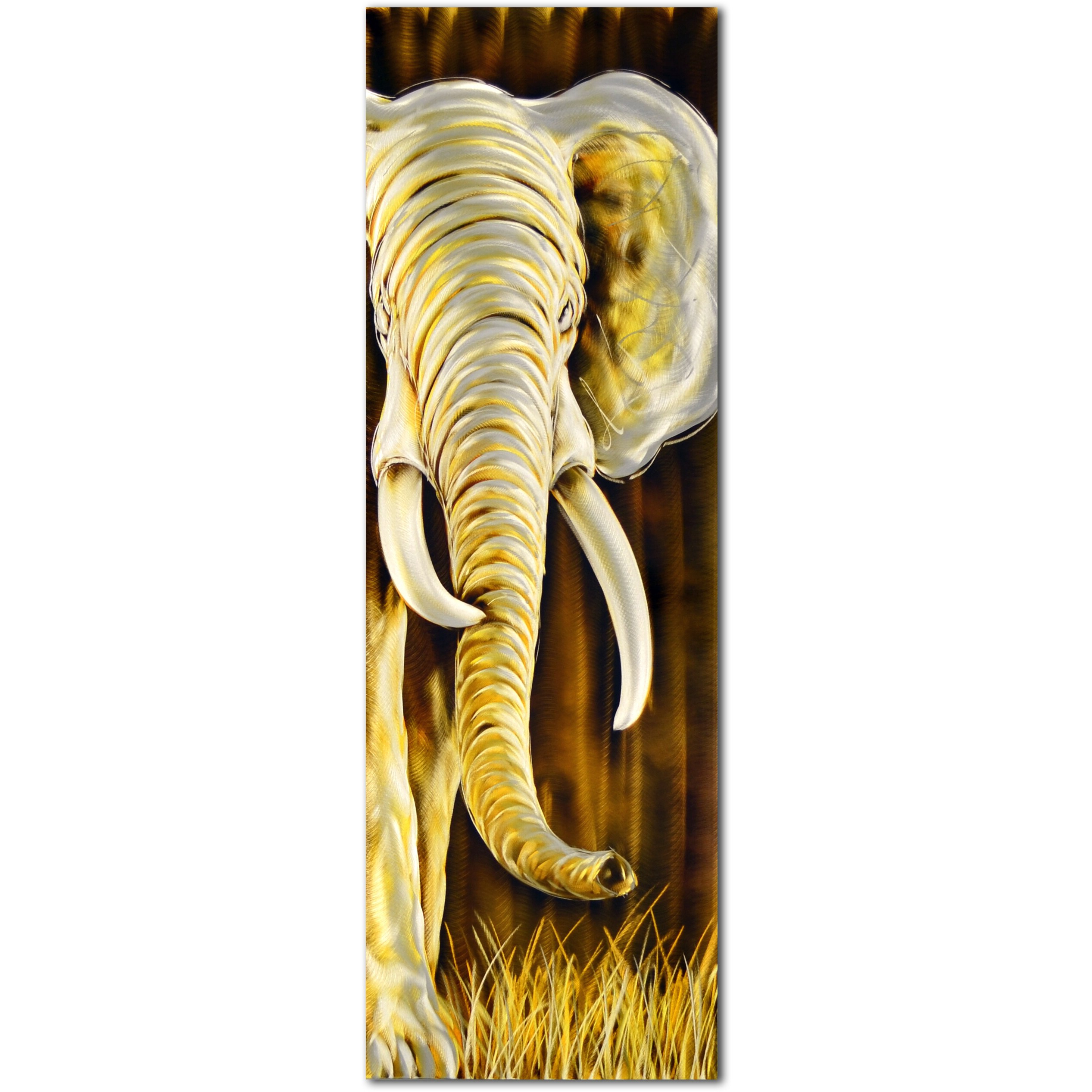 Popular Gold And White Elephants Delight Handmade Metal Wall Art Sculpture With Gold Elephants Sculpture Wall Décor (View 16 of 20)