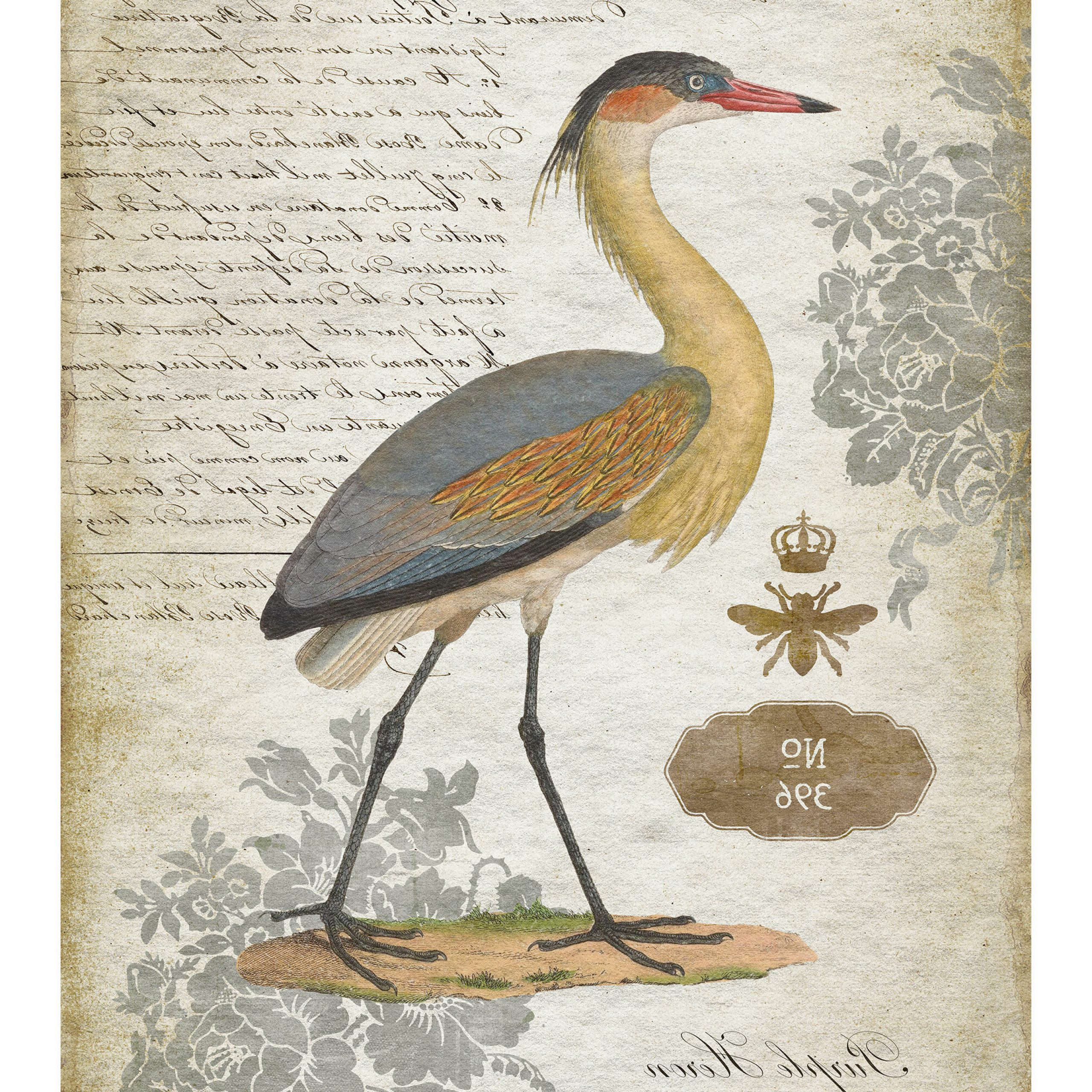Popular Heron Ii Tapestry With Regard To Blended Fabric Hidden Garden Chinoiserie Wall Hangings With Rod (Gallery 16 of 20)
