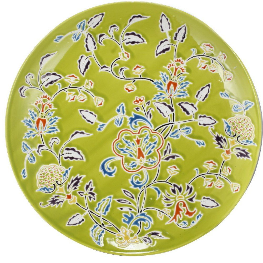 Popular Oubre Floral Patterned Ceramic Decorative Plate Intended For Floral Plate Wall Décor By World Menagerie (View 7 of 20)