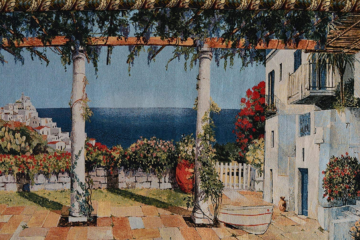 Popular Tache 28 X 47 Inches Vintage Coastal Mediterranean Summertime Retreat Tapestry Jacquard Wall Hanging Art Decor Intended For Blended Fabric Faraway Longing Wall Hangings (View 14 of 20)