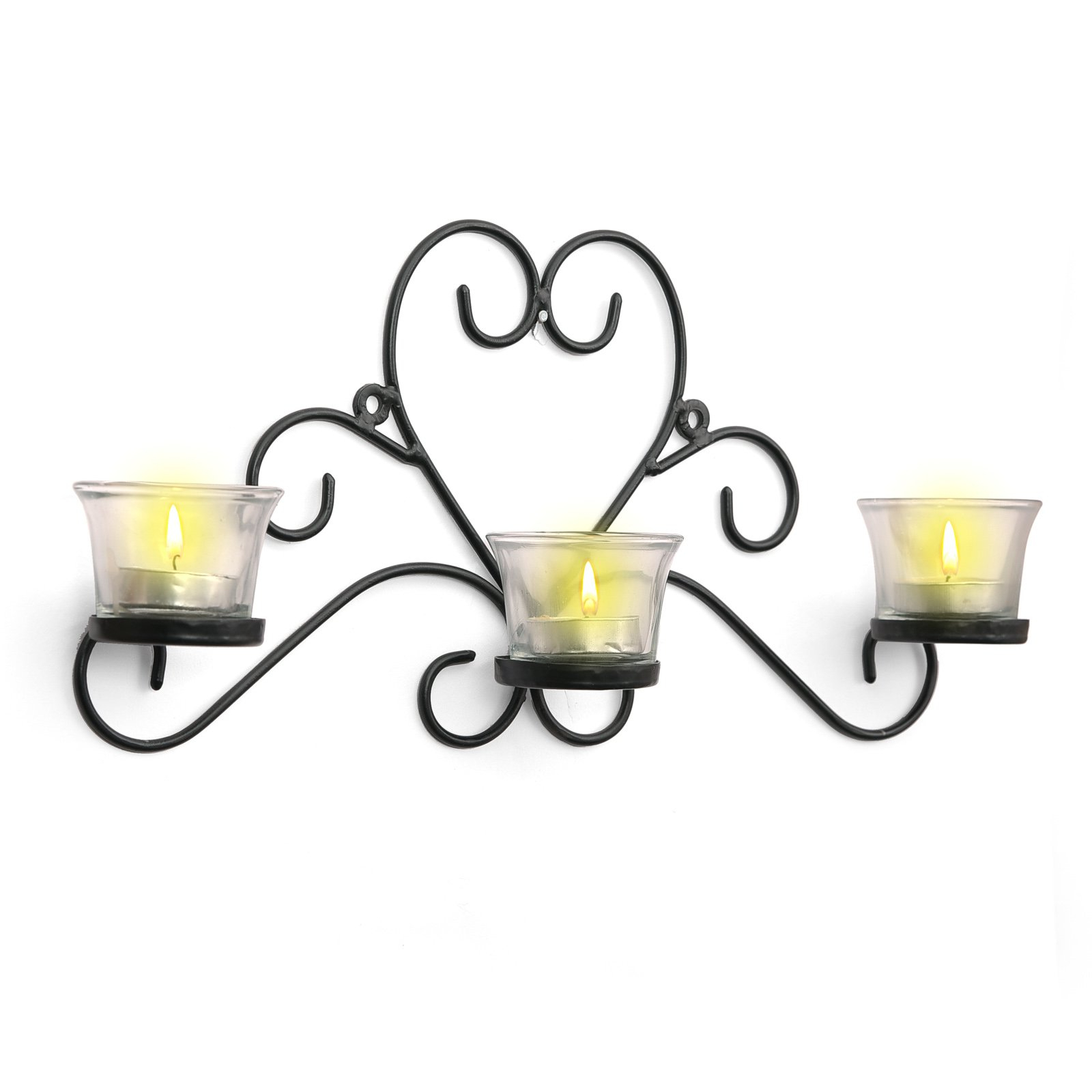 Popular Three Glass Holder Wall Décor Within Buy Craftvatika Iron Black Three Glass Cup Candle Holder (View 11 of 20)
