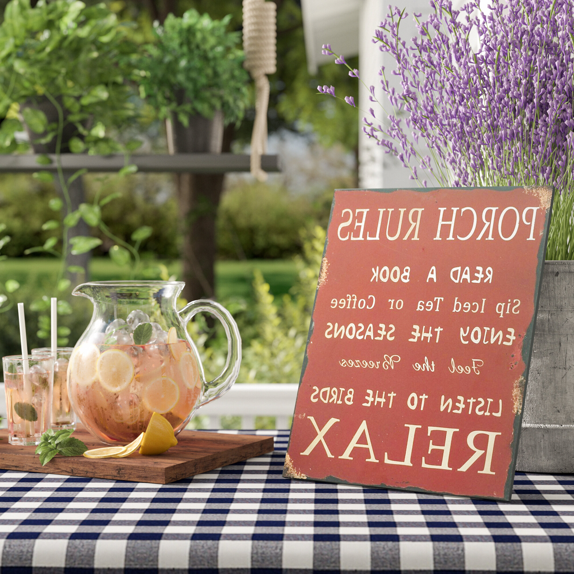 Featured Photo of 'Porch Rules' Metal Wall Décor