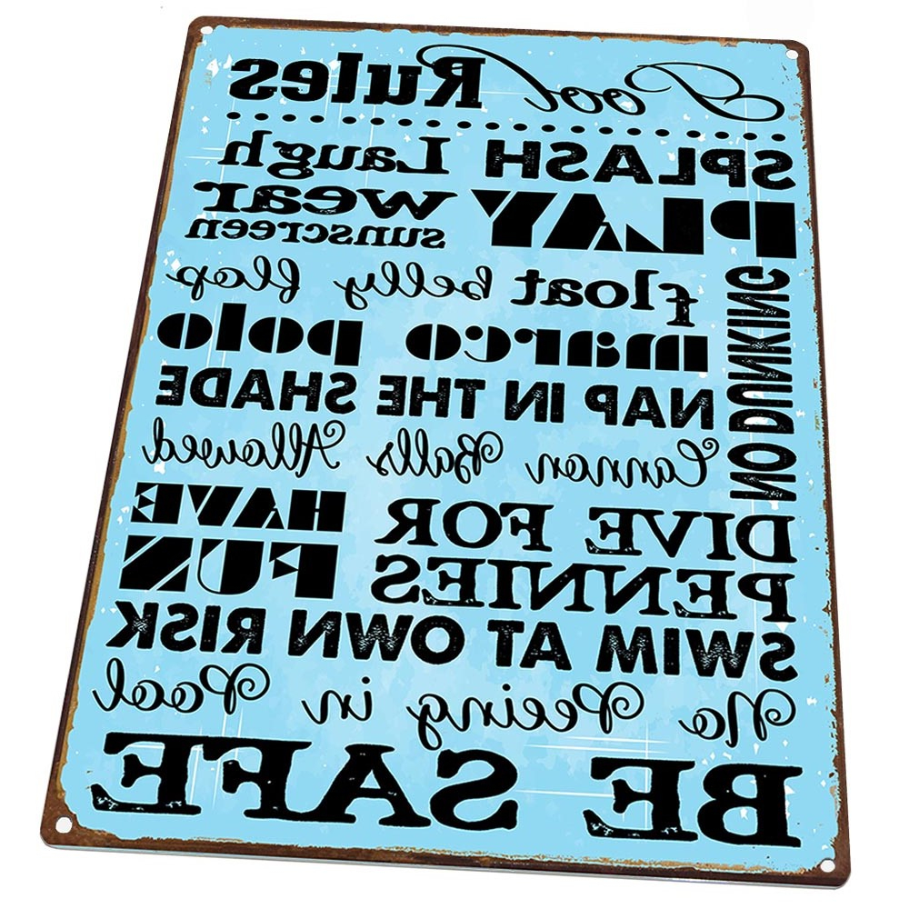 'porch Rules' Metal Wall Décor Regarding Favorite Or Deck Patio Turquoise Patio Rules Metal Sign; Wall Decor (View 8 of 20)