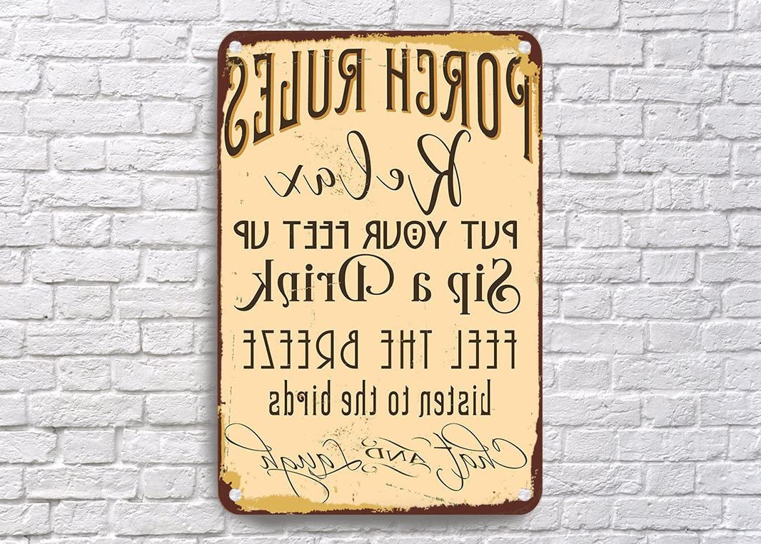 Porch Rules Signs, Vintage Style Porch Rules Sign, Porch With Well Known 'porch Rules' Metal Wall Décor (View 3 of 20)