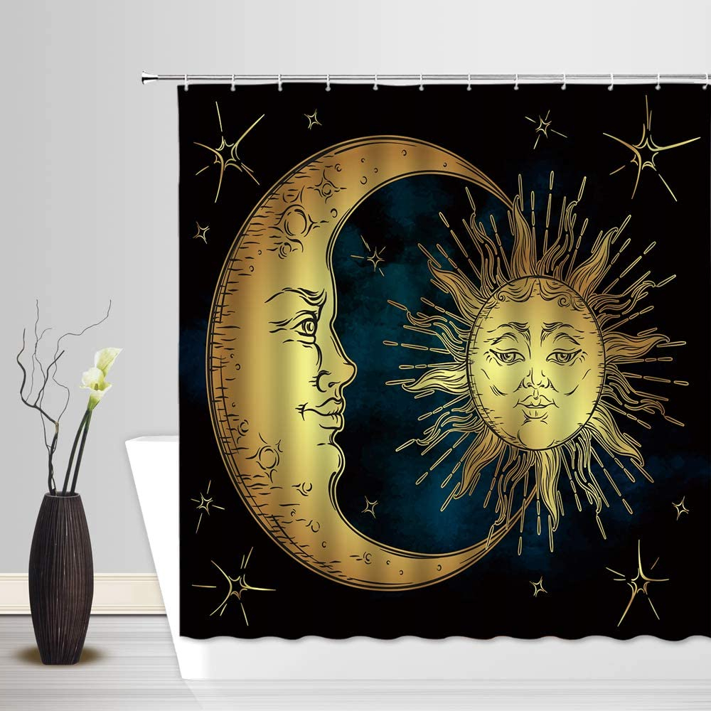 Preferred Amazon: Sun And Moon Shower Curtain, Vintage Mandala Regarding Blended Fabric Celestial Wall Hangings (set Of 3) (View 18 of 20)