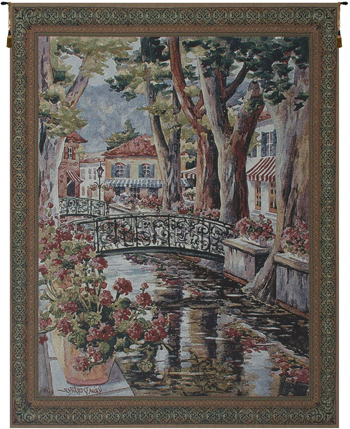 Preferred Blended Fabric Classic French Rococo Woven Tapestries With Regard To Amazon: French Village Tapestry Wall Art: Home & Kitchen (View 15 of 20)