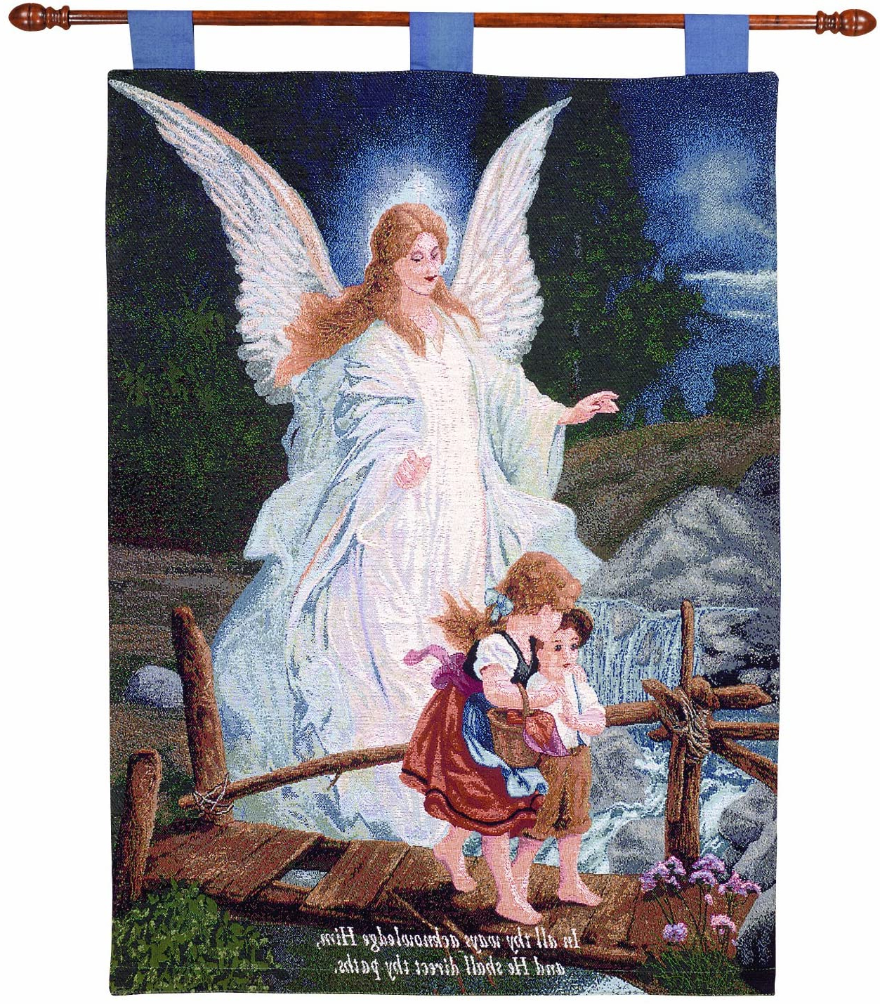Preferred Blended Fabric Freedom Verse Tapestries And Wall Hangings Throughout Manual Inspirational Collection 26 X 36 Inch Wall Hanging And Finial Rod, Direct Thy Paths With Verse (View 5 of 20)