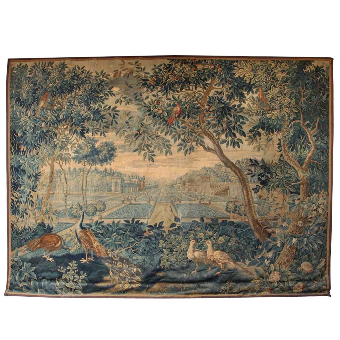 Preferred Blended Fabric Verdure Au Chateau Ii European Tapestries Intended For Rare 17th Century Brussels Tapestry With A View Of The (View 5 of 20)
