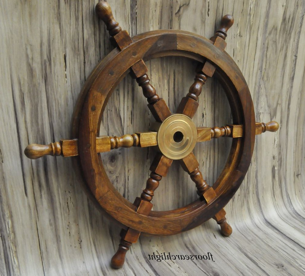 Preferred Brown/brass Wood Ship Wheel Wall Décor With Wooden Ship Steering Wheel Wall Boat 18 Inch Brass Fishing (View 8 of 20)