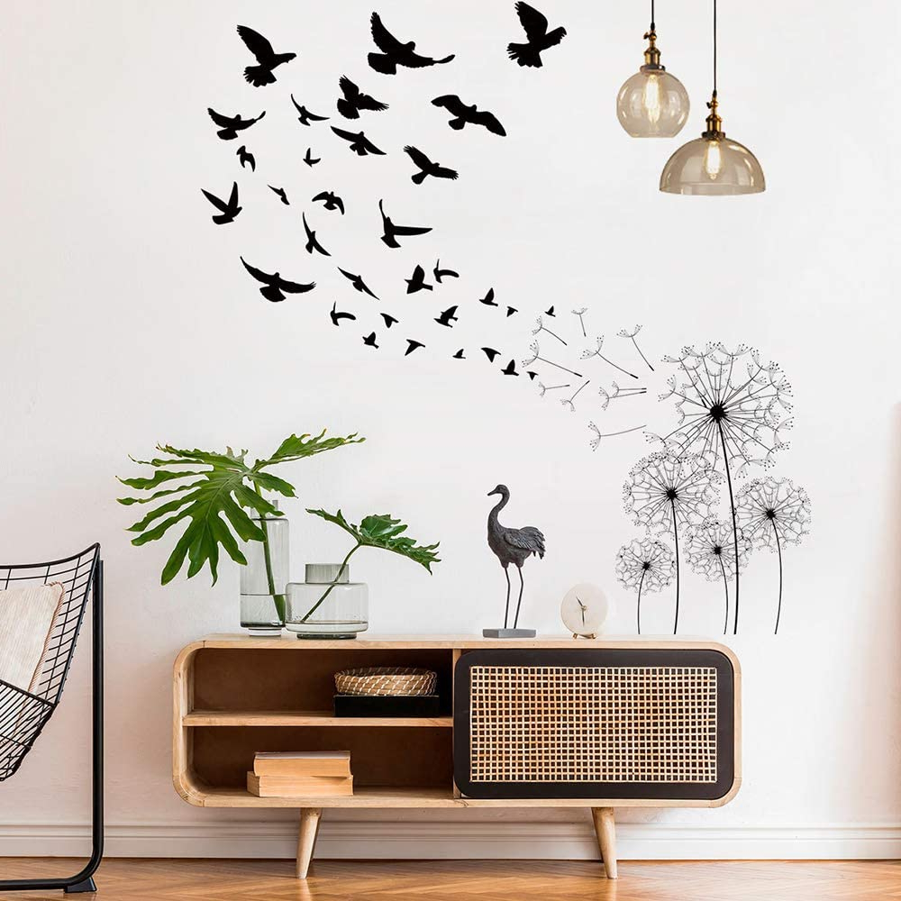 Preferred Dandelions And Birds Flying In The Wind Wall Decals, Motasom Whimsical Flowers Swallow Giant Wall Stickers, Removable Pvc Murals Decoration For With Regard To Whimsical Flower Wall Décor (View 12 of 20)
