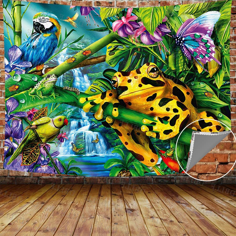 """Preferred Dbllf Frog Tapestry Rainforest Creature Spring Summer Nature Scenery Wall Hanging Tapestry,queen Size 80""""x60"""" Flannel Art Tapestries,for Living Room With Regard To Blended Fabric Spring Party Wall Hangings (View 16 of 20)"""