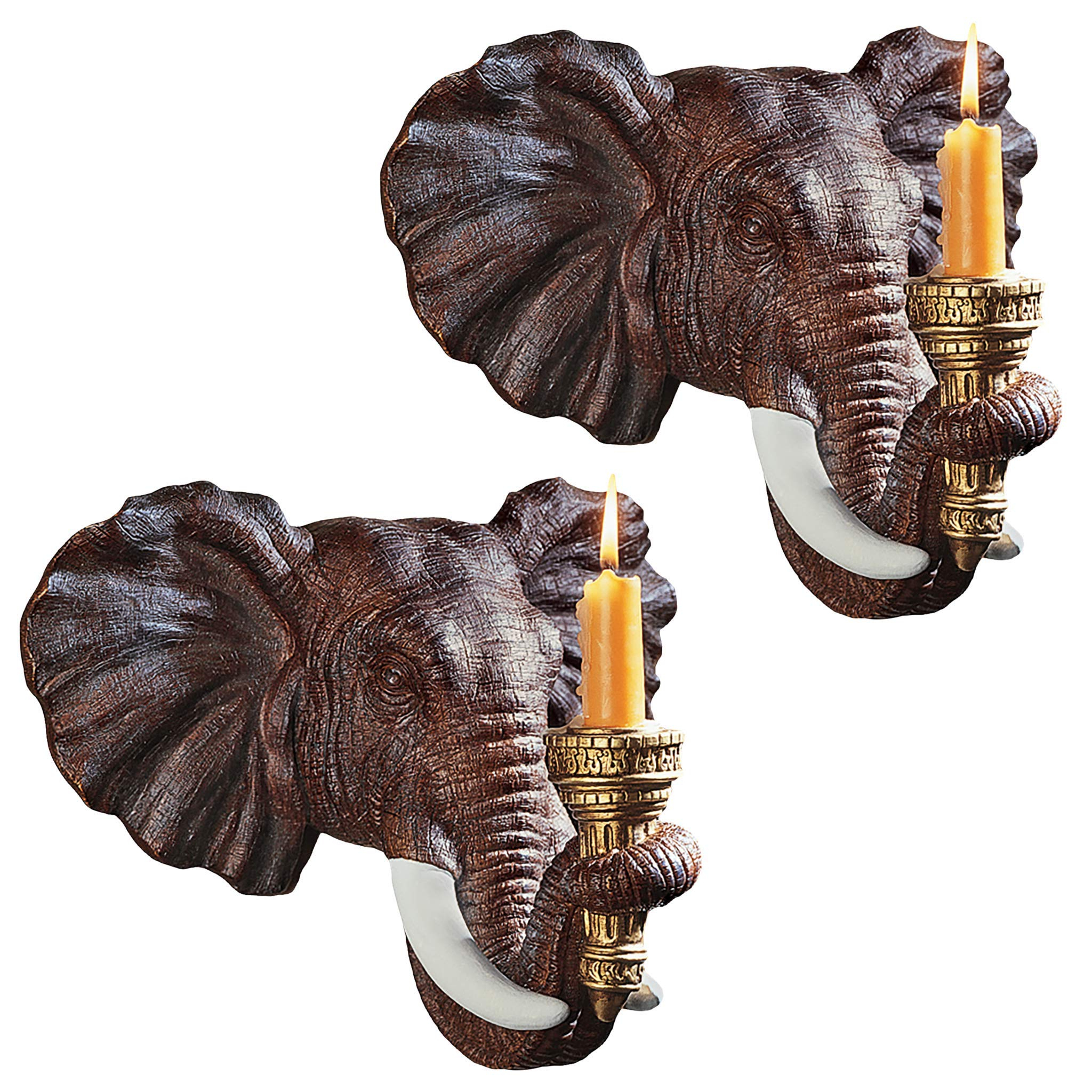 Preferred Design Toscano Ng930614 Elephant African Decor Candle Holder Wall Sconce Sculpture, 12 Inch, Set Of Two, Polyresin, Full Color,set Of 2 Inside Gold Elephants Sculpture Wall Décor (View 12 of 20)