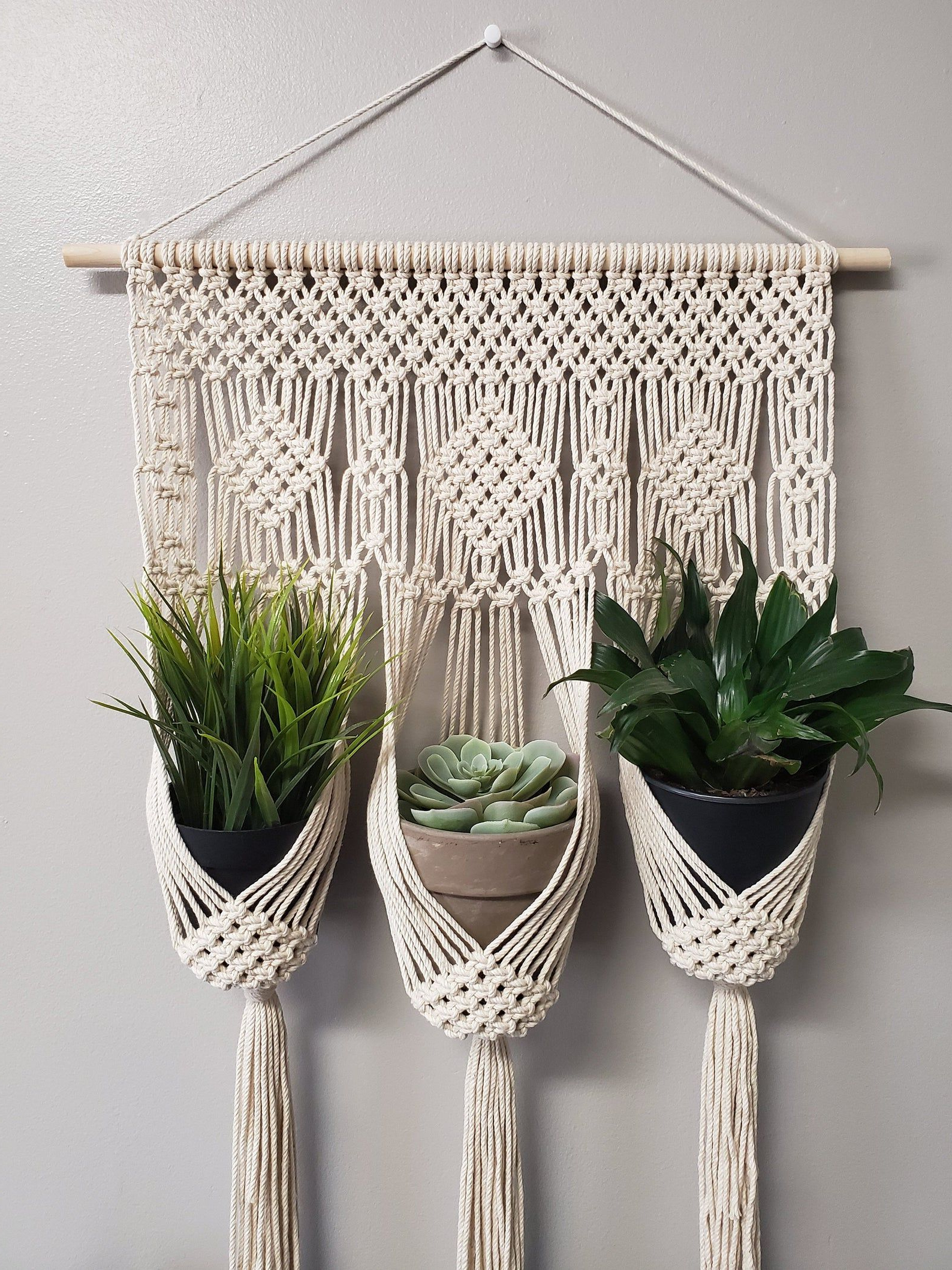 Preferred Diamond Triple Plant Hanger / Small Macrame Wall Hanging Pertaining To Three Glass Holder Wall Décor (View 16 of 20)