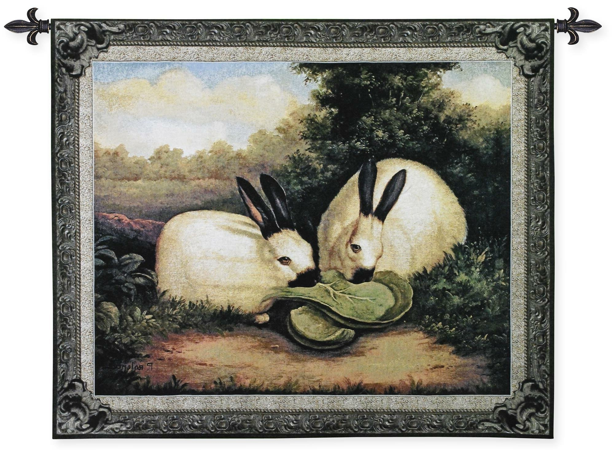 Preferred European Le Point Deau Flamant Rose Tapestries In Two Himalayan Rabbits Tapestry (View 10 of 20)